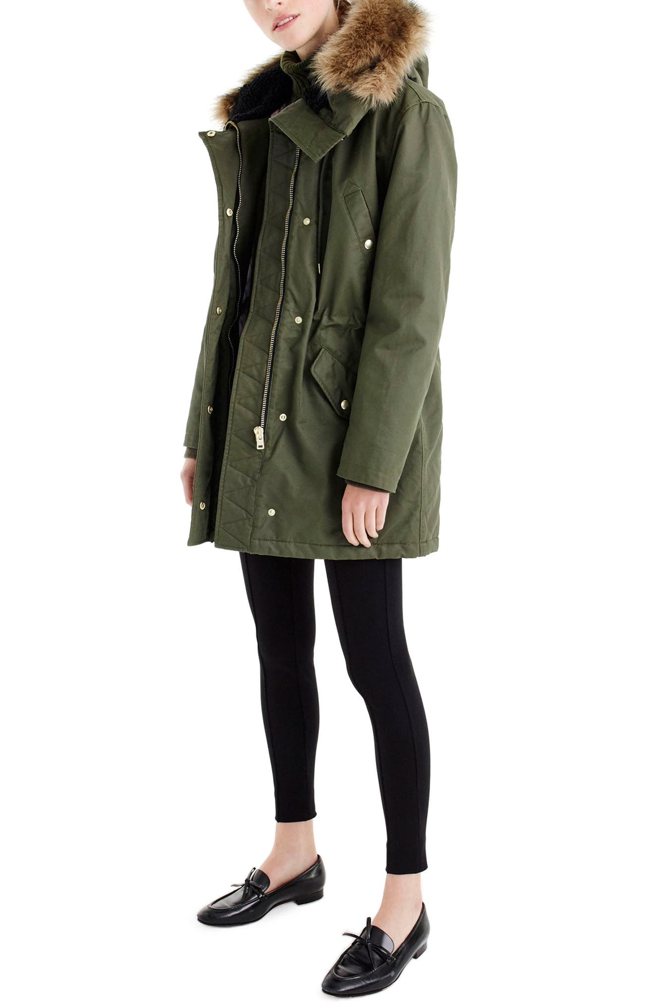 J.Crew Granstorm Water Resistant Hooded Parka with Faux Fur Trim