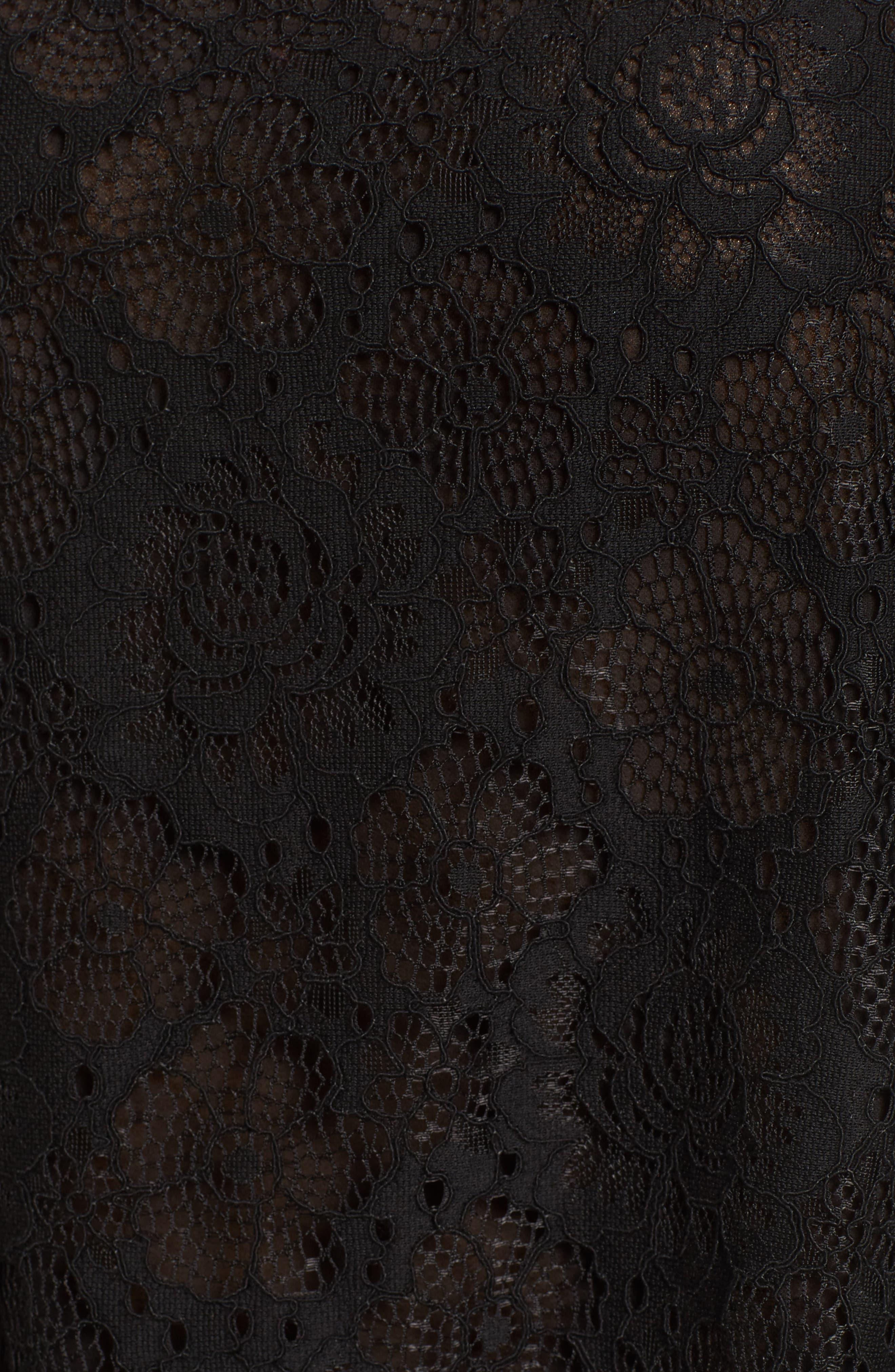 Gabrielle Off the Shoulder Lace Top,                             Alternate thumbnail 6, color,                             Black