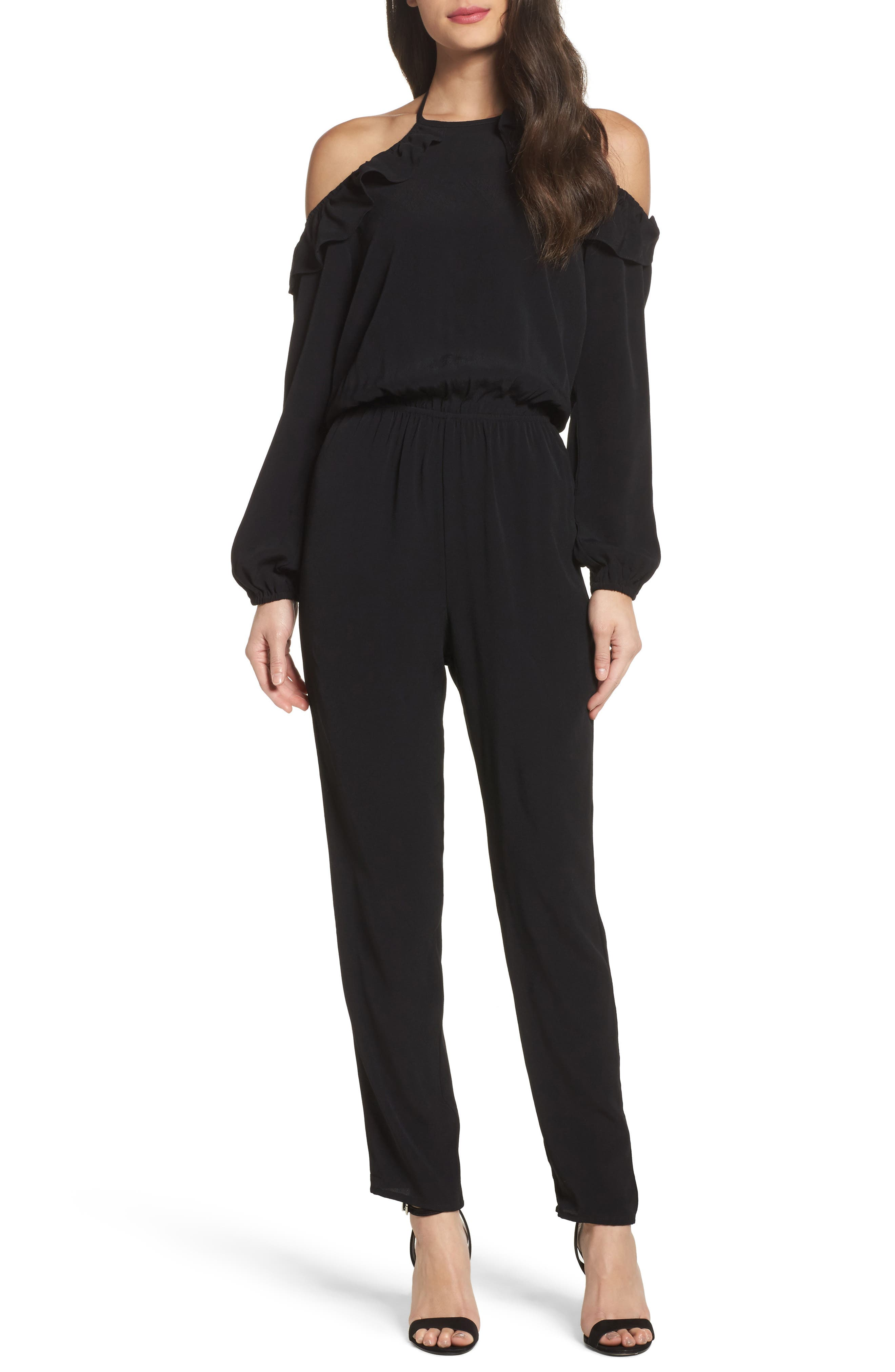 Cold Shoulder Halter Jumpsuit,                         Main,                         color, Black