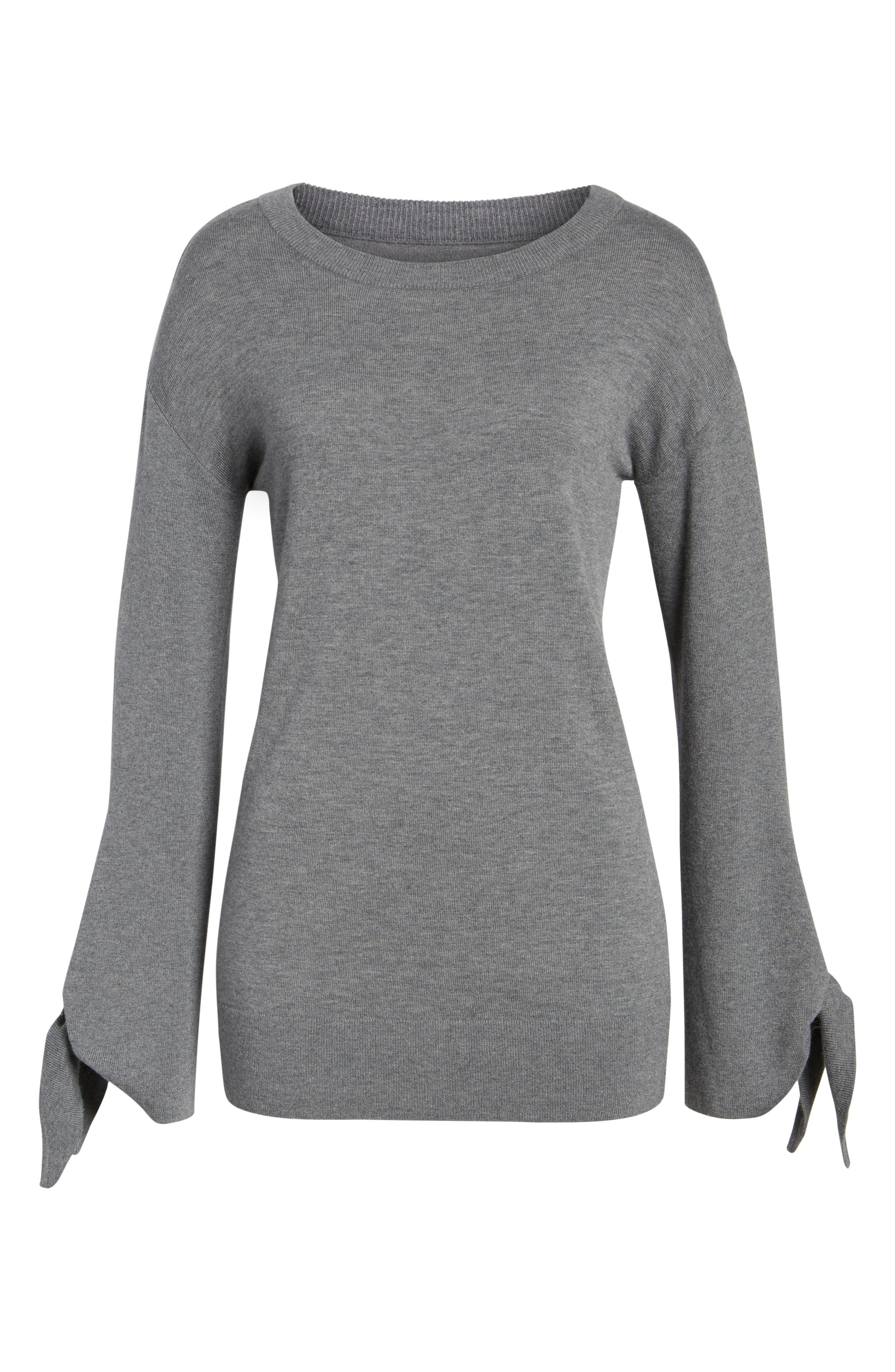 Tie Sleeve Sweater,                             Alternate thumbnail 6, color,                             Grey Dark Heather