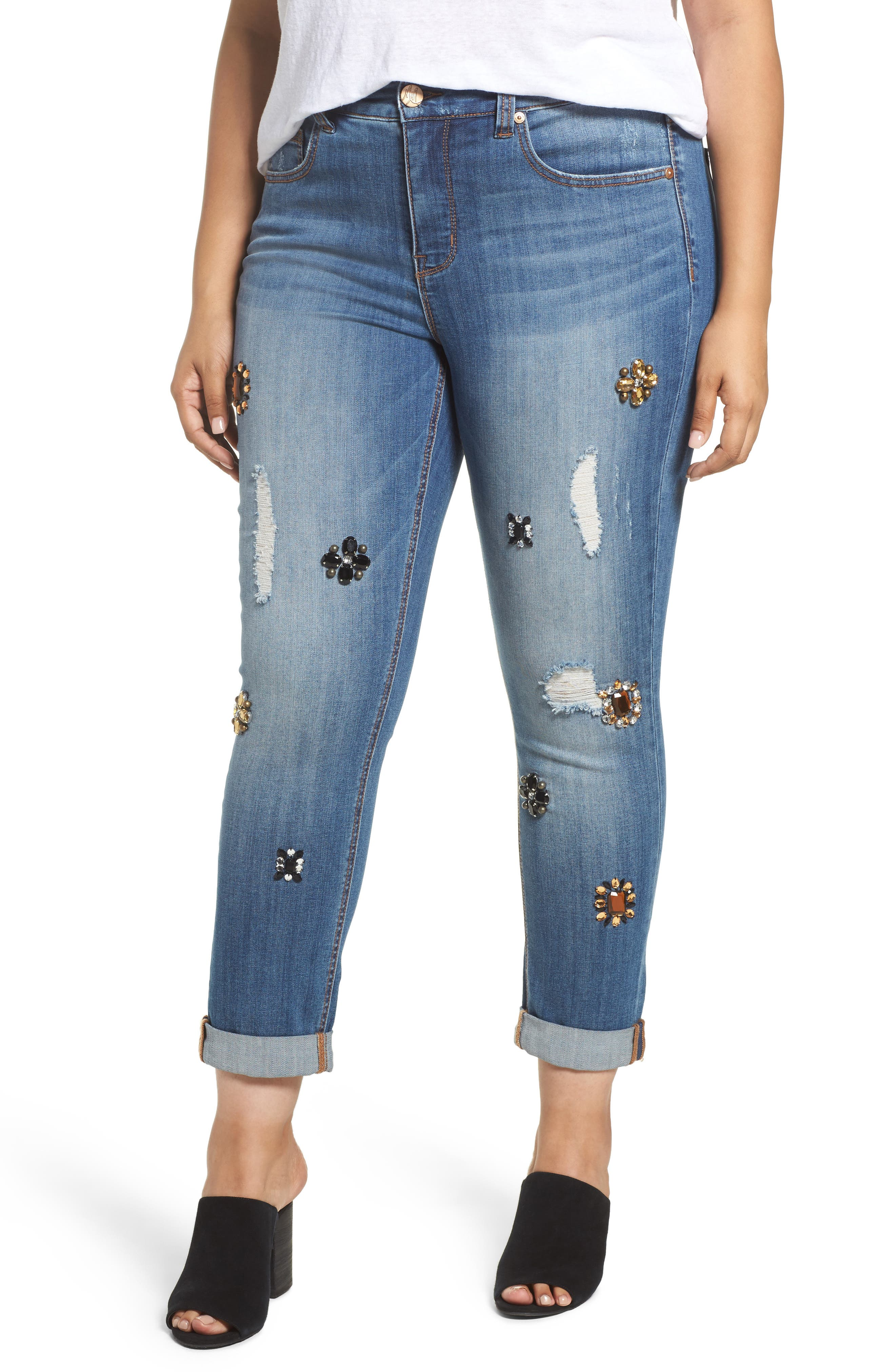 Main Image - Melissa McCarthy Seven7 Jeweled Skinny Jeans (Heiress) (Plus Size)