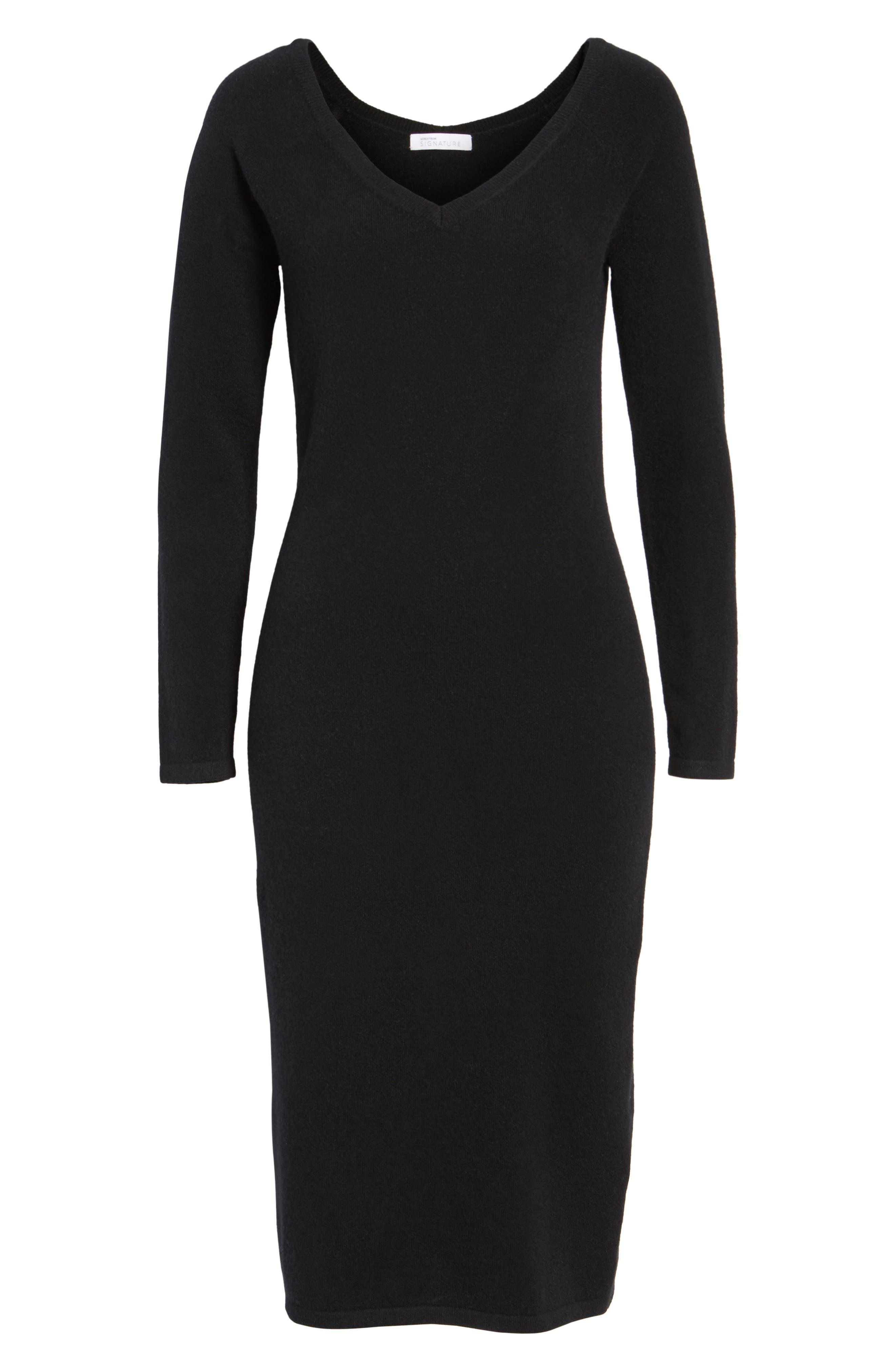 Cashmere Blend V-Neck Midi Dress,                             Alternate thumbnail 6, color,                             Black