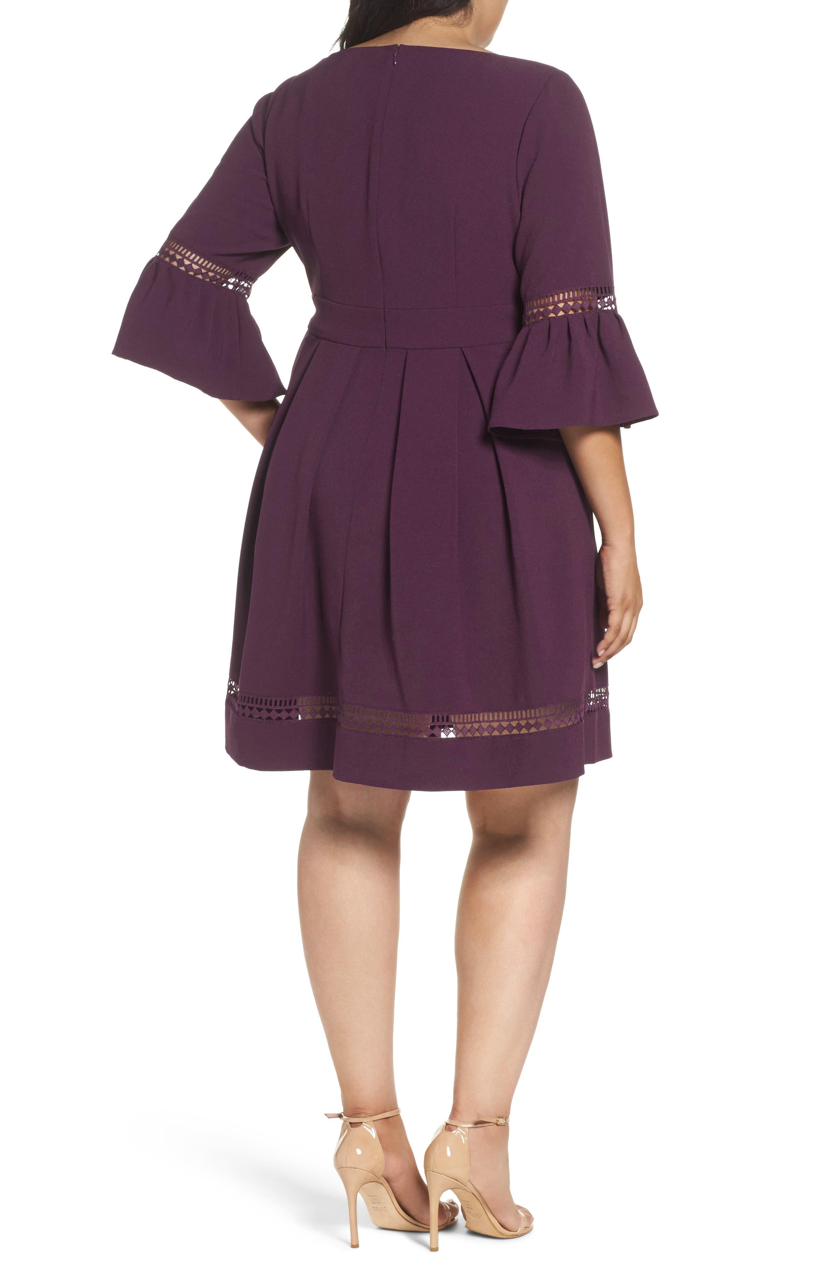 Alternate Image 2  - Eliza J Bell Sleeve Fit & Flare Dress (Plus Size)