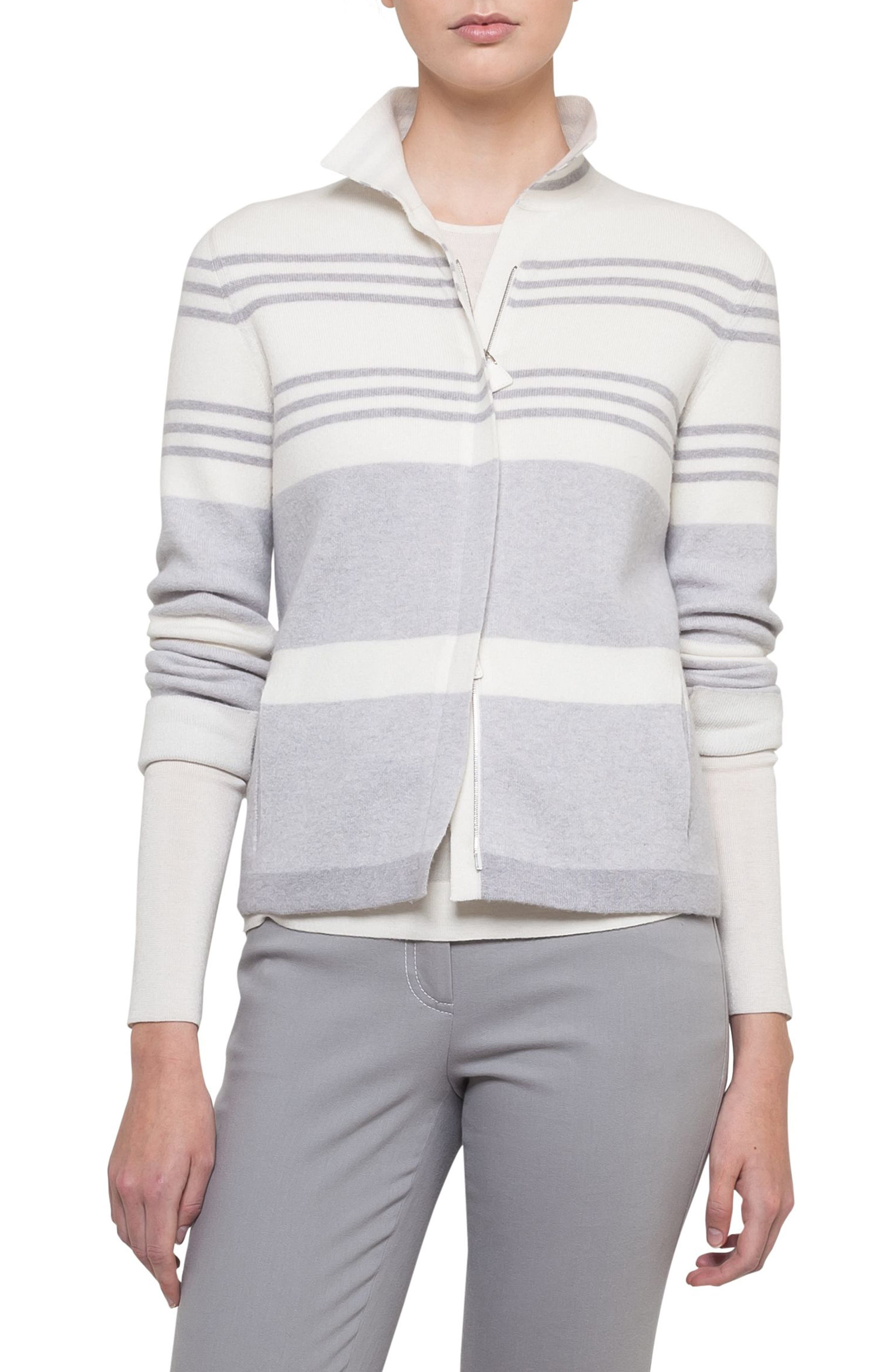 Main Image - Akris Stripe Knit Cashmere Jacket