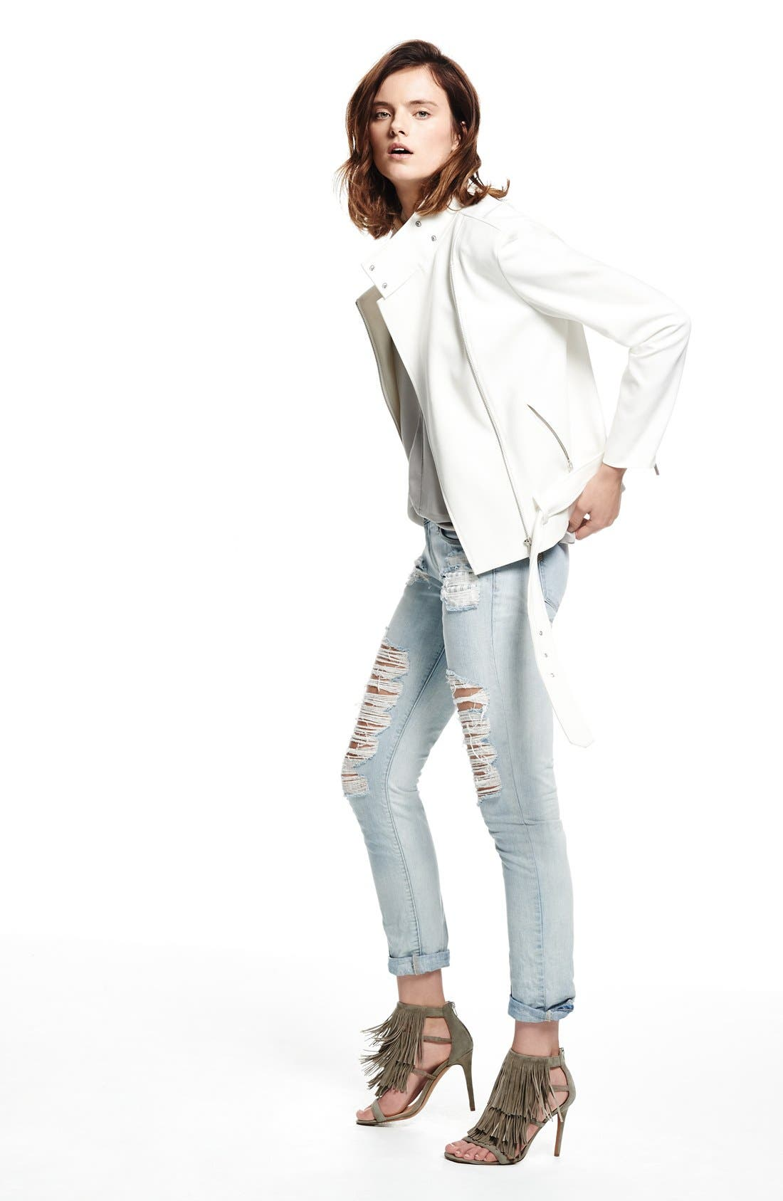Oversize Moto Jacket,                             Alternate thumbnail 7, color,