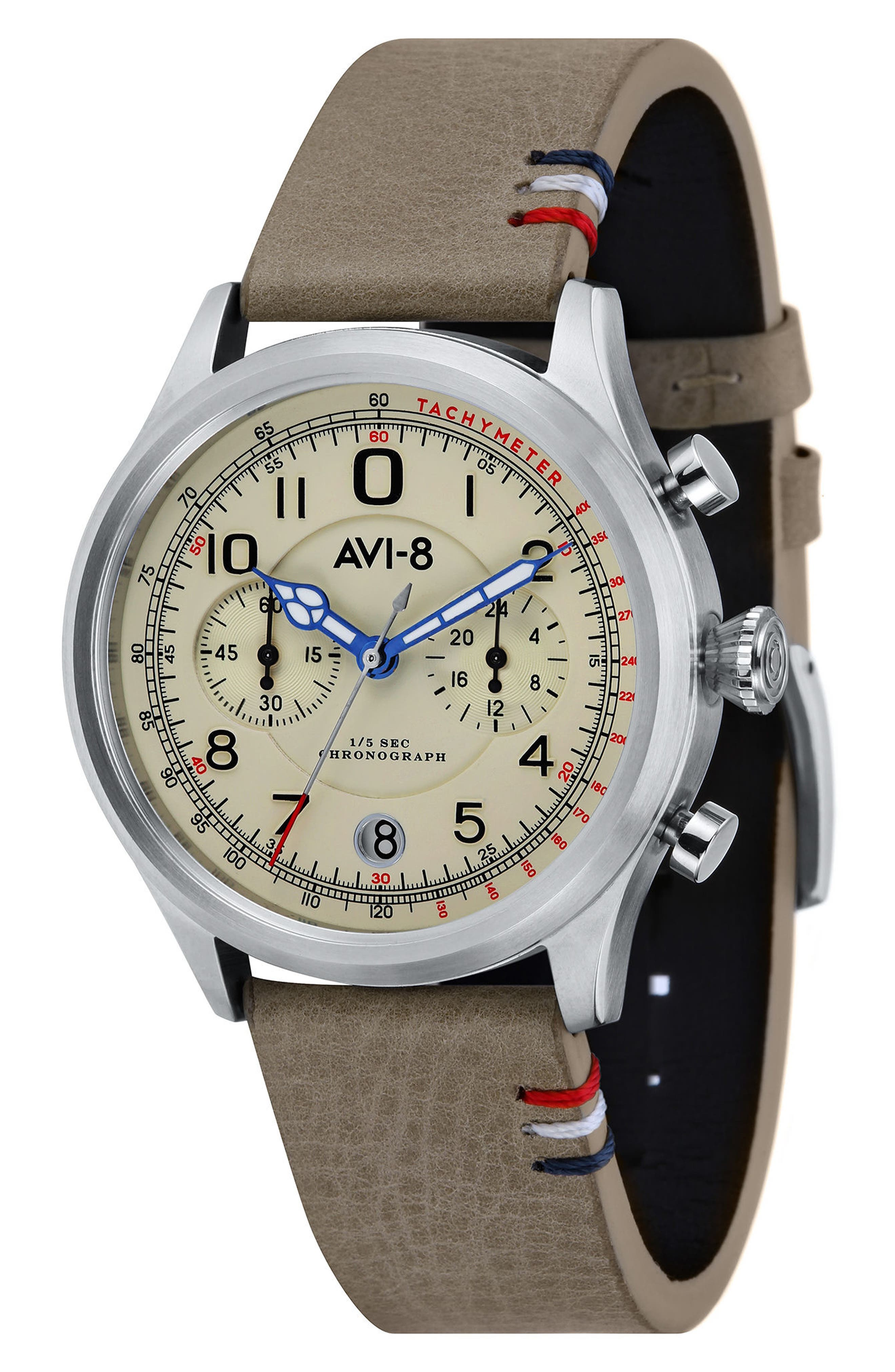 AVI-8 Flyboy Lafayette Chronograph Leather Strap Watch, 43mm