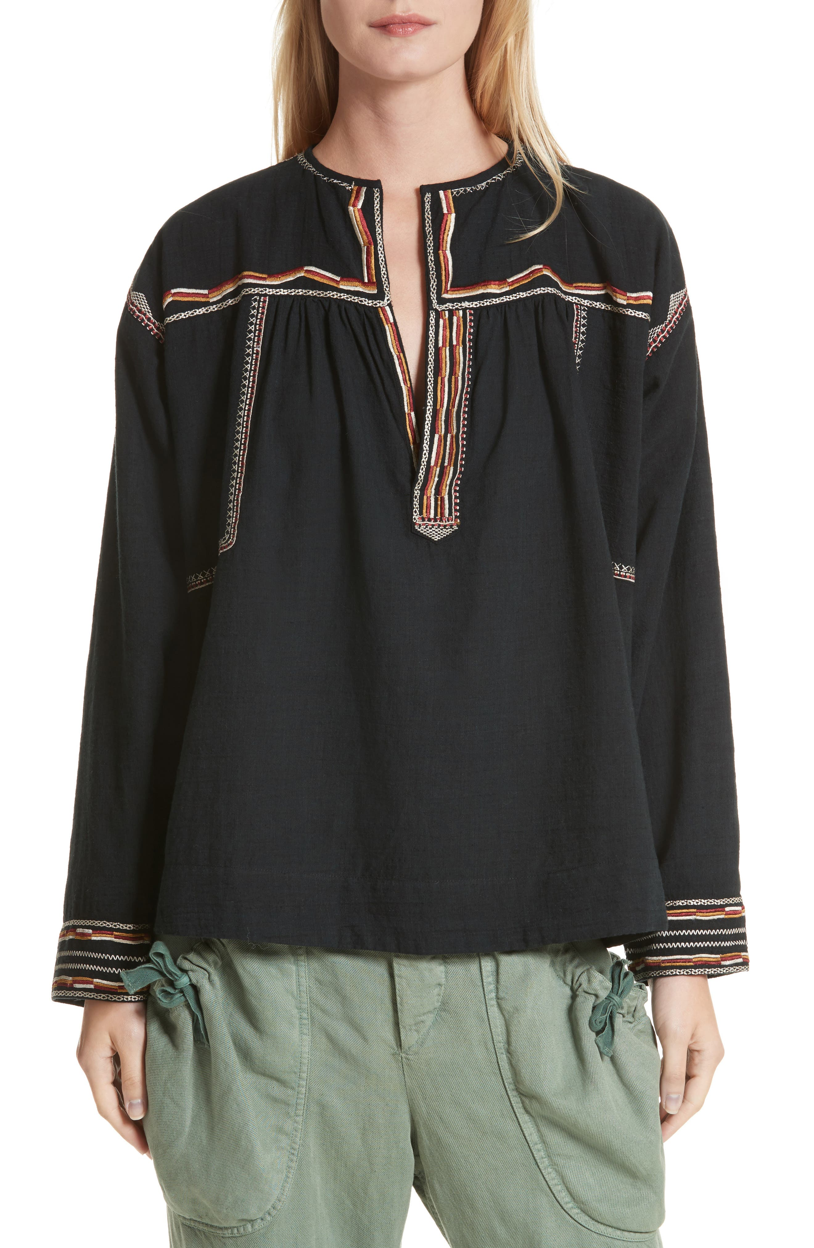 Isabel Marant Étoile Blicky Embroidered Top,                         Main,                         color, Black