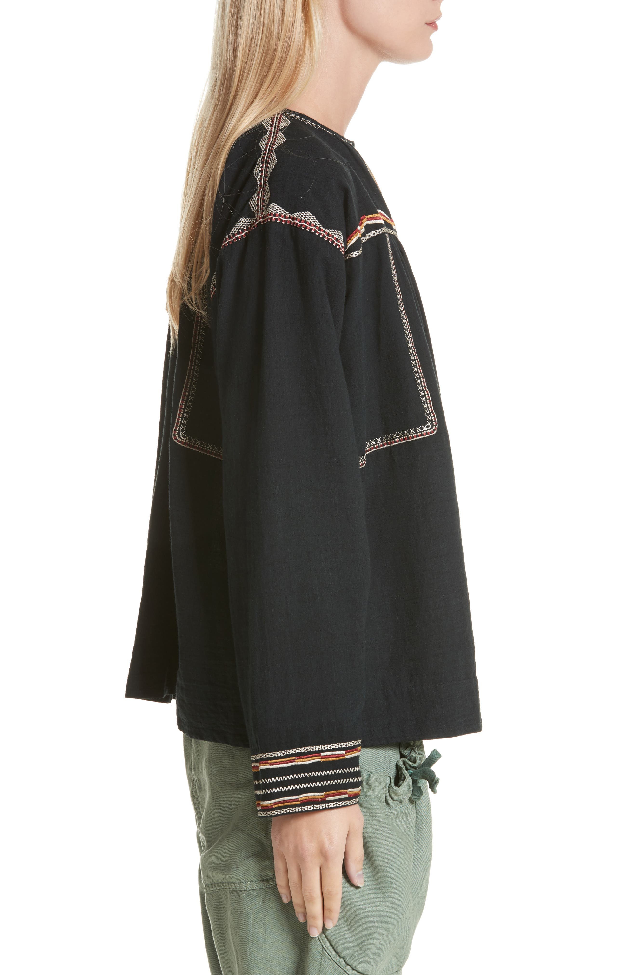 Isabel Marant Étoile Blicky Embroidered Top,                             Alternate thumbnail 3, color,                             Black