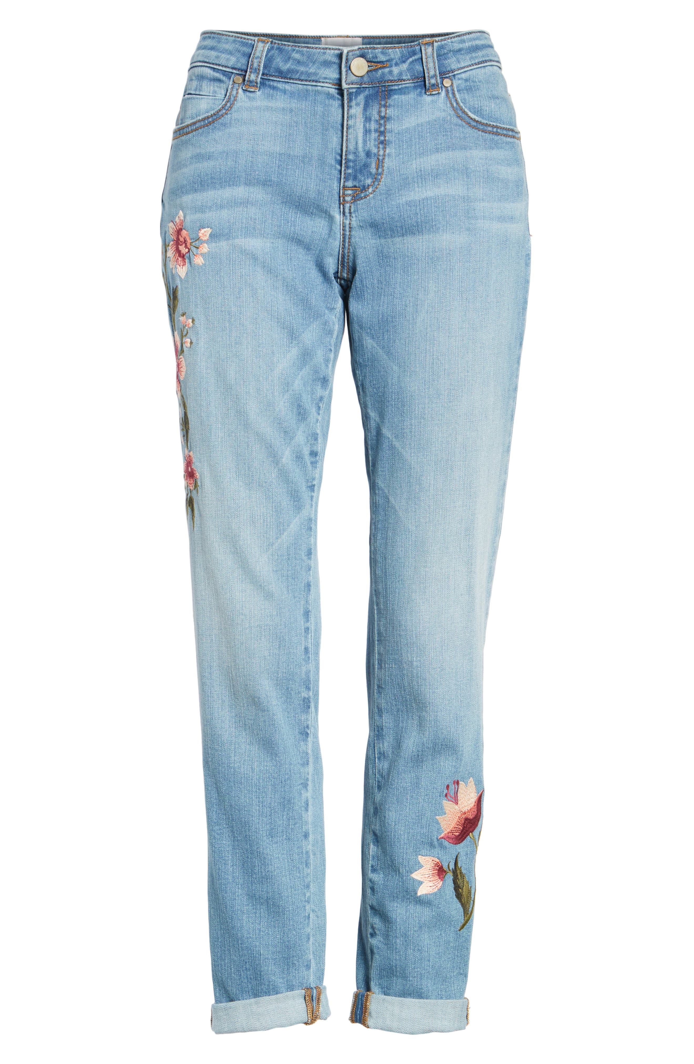Embroidered Skinny Boyfriend Jeans,                             Alternate thumbnail 6, color,                             Blue Frontier
