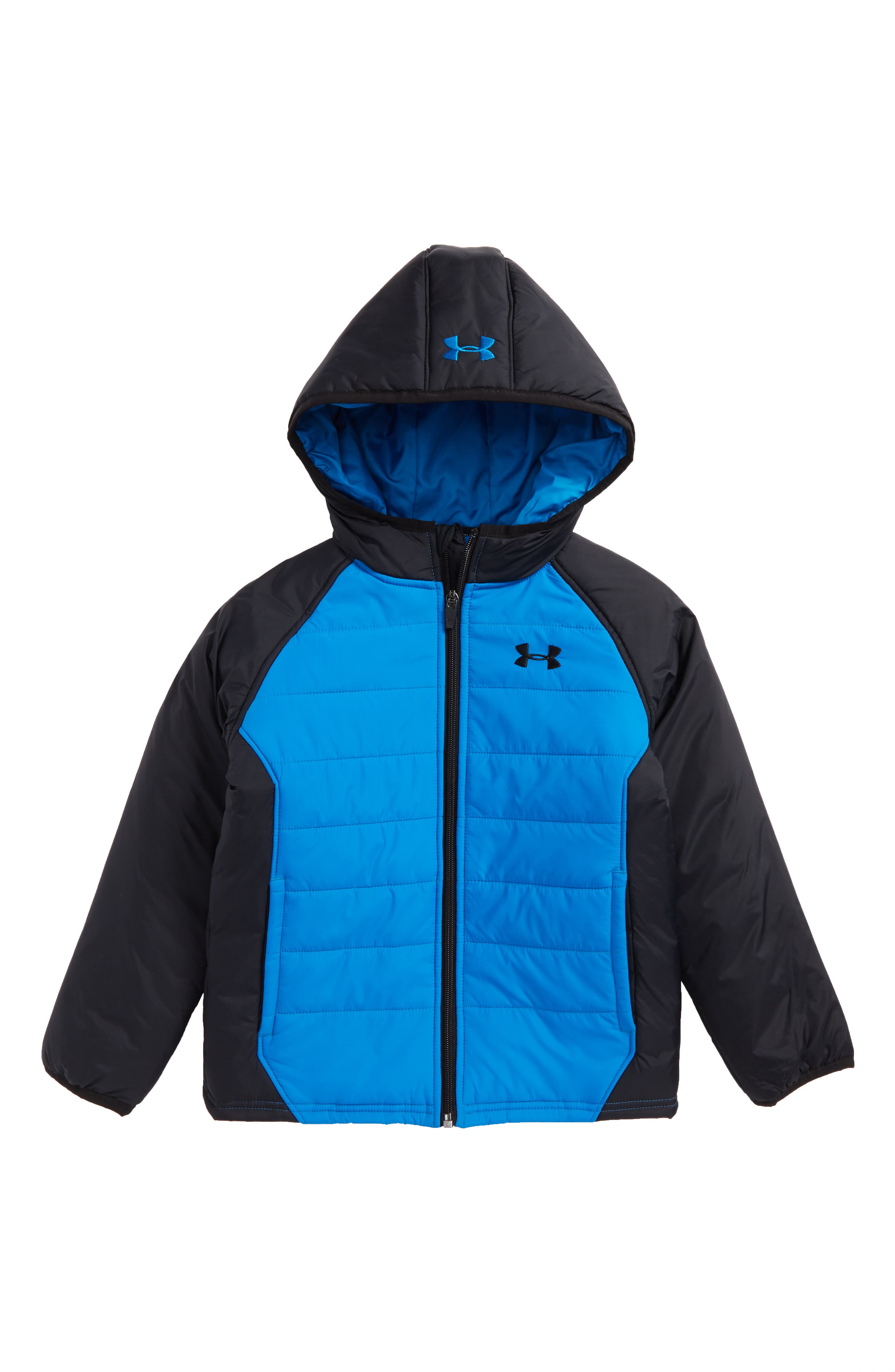 Werewolf Water Resistant ColdGear<sup>®</sup> Hooded Puffer Jacket,                         Main,                         color, Cruise Blue