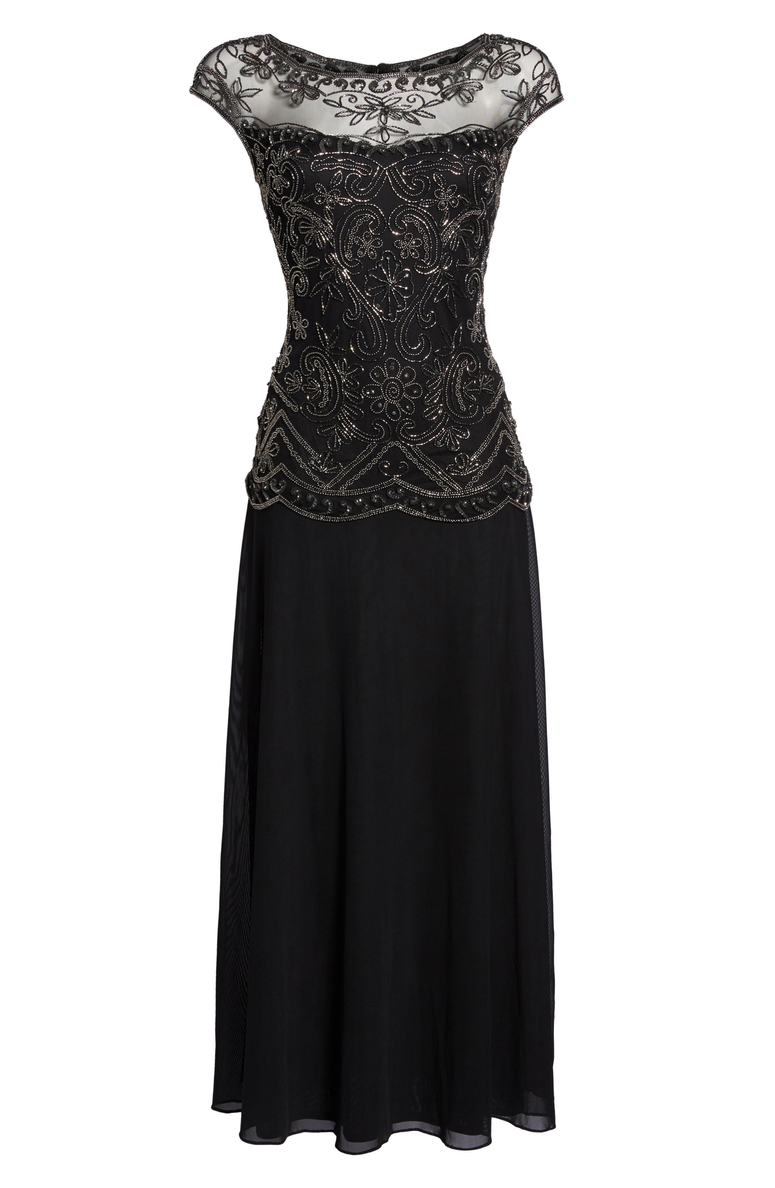 Embellished Cap Sleeve Long Dress,                             Alternate thumbnail 6, color,                             Black