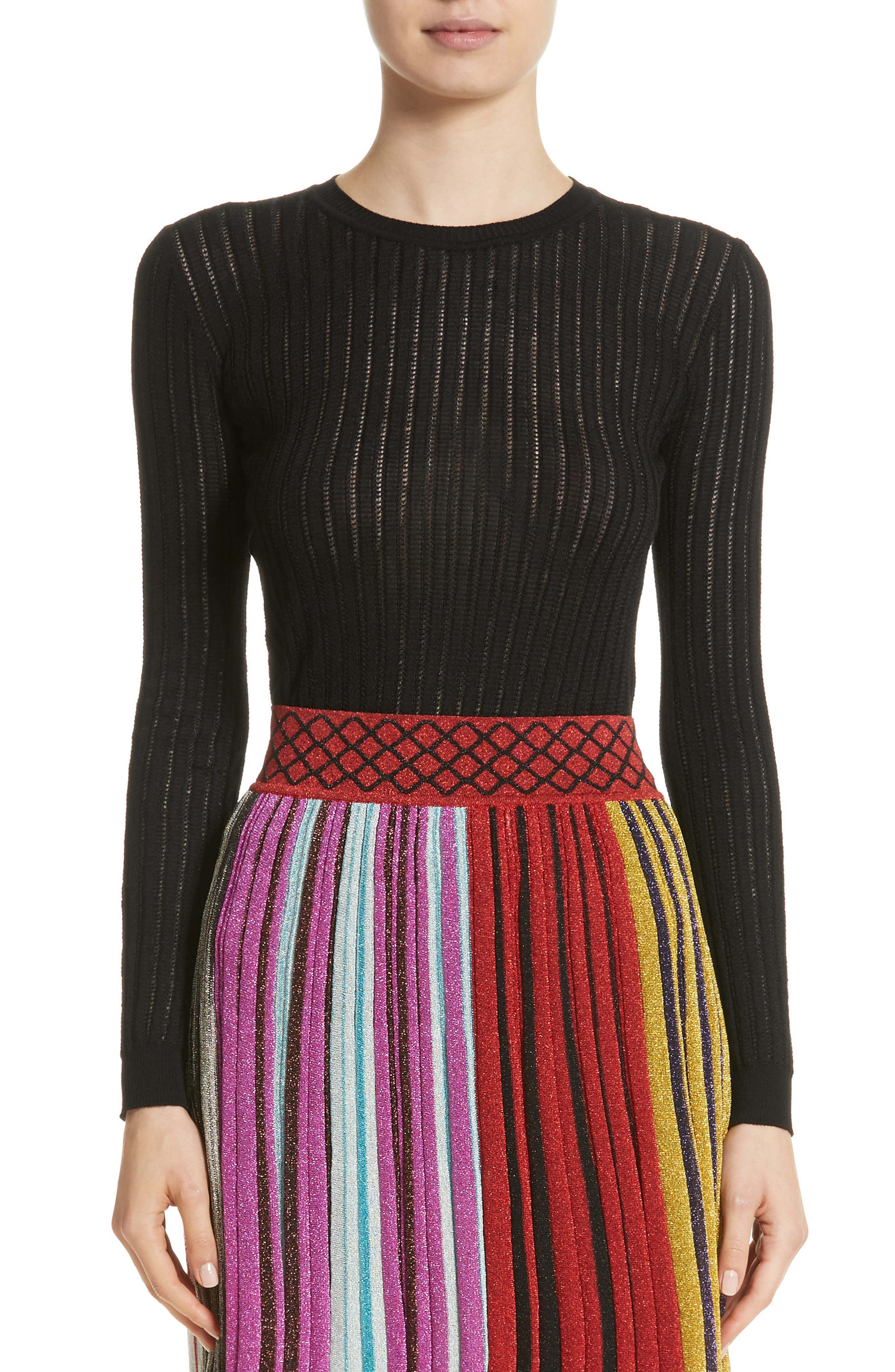 Knit Wool Blend Sweater,                         Main,                         color, Black