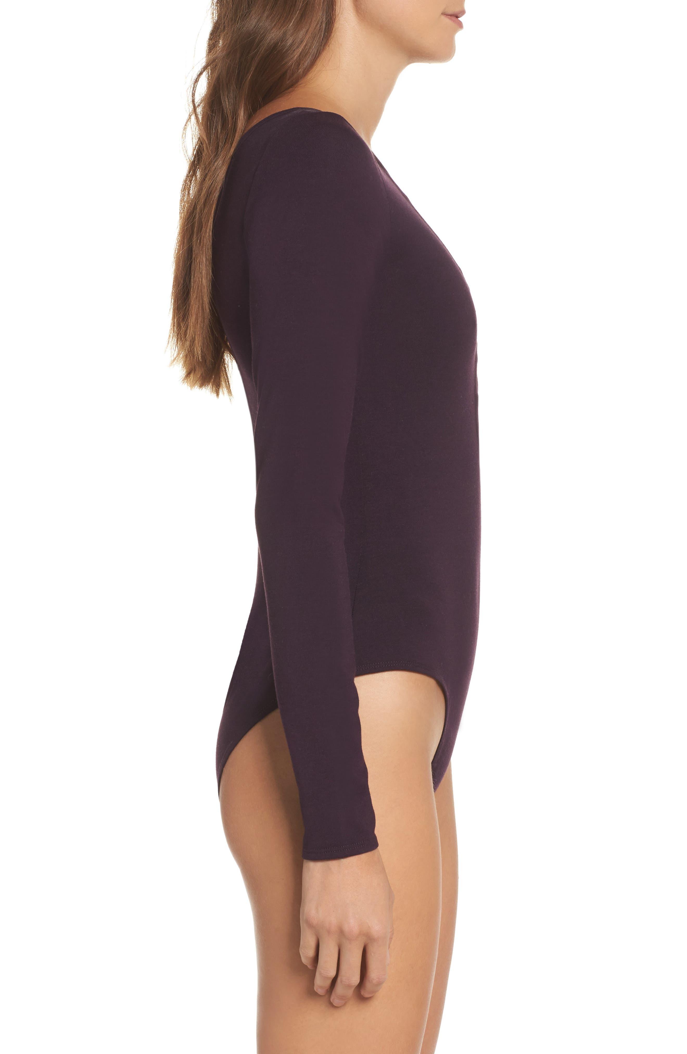 Crisscross Bodysuit,                             Alternate thumbnail 3, color,                             Raisin