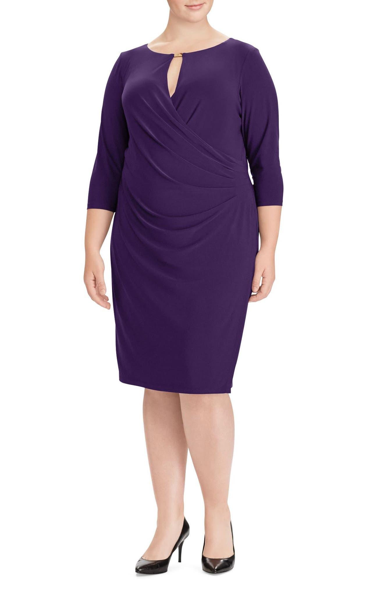 Main Image - Lauren Ralph Lauren Ruched Jersey Dress (Plus Size)