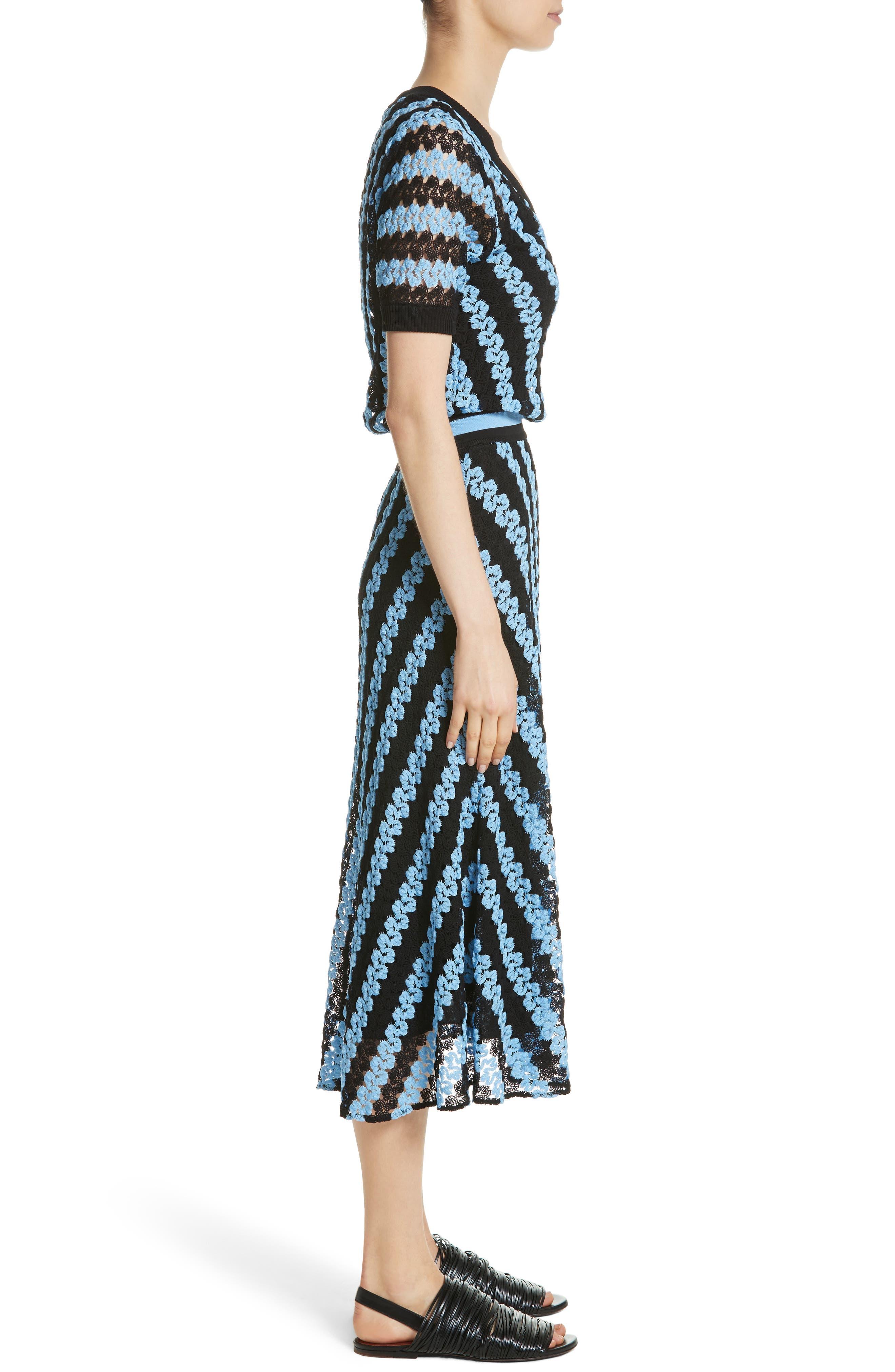 Chevron Knit Midi Dress,                             Alternate thumbnail 3, color,                             Blue