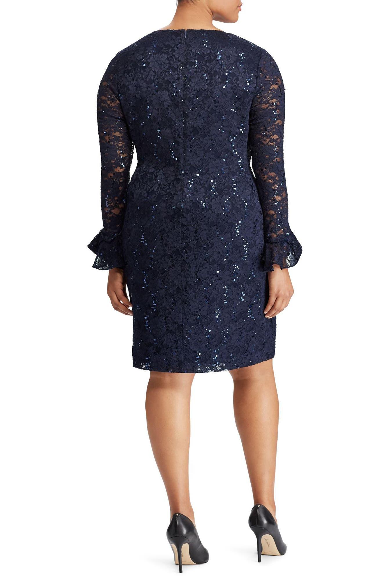Agnes Lace & Sequin Dress,                             Alternate thumbnail 2, color,                             Light Navy/ Navy Sequin