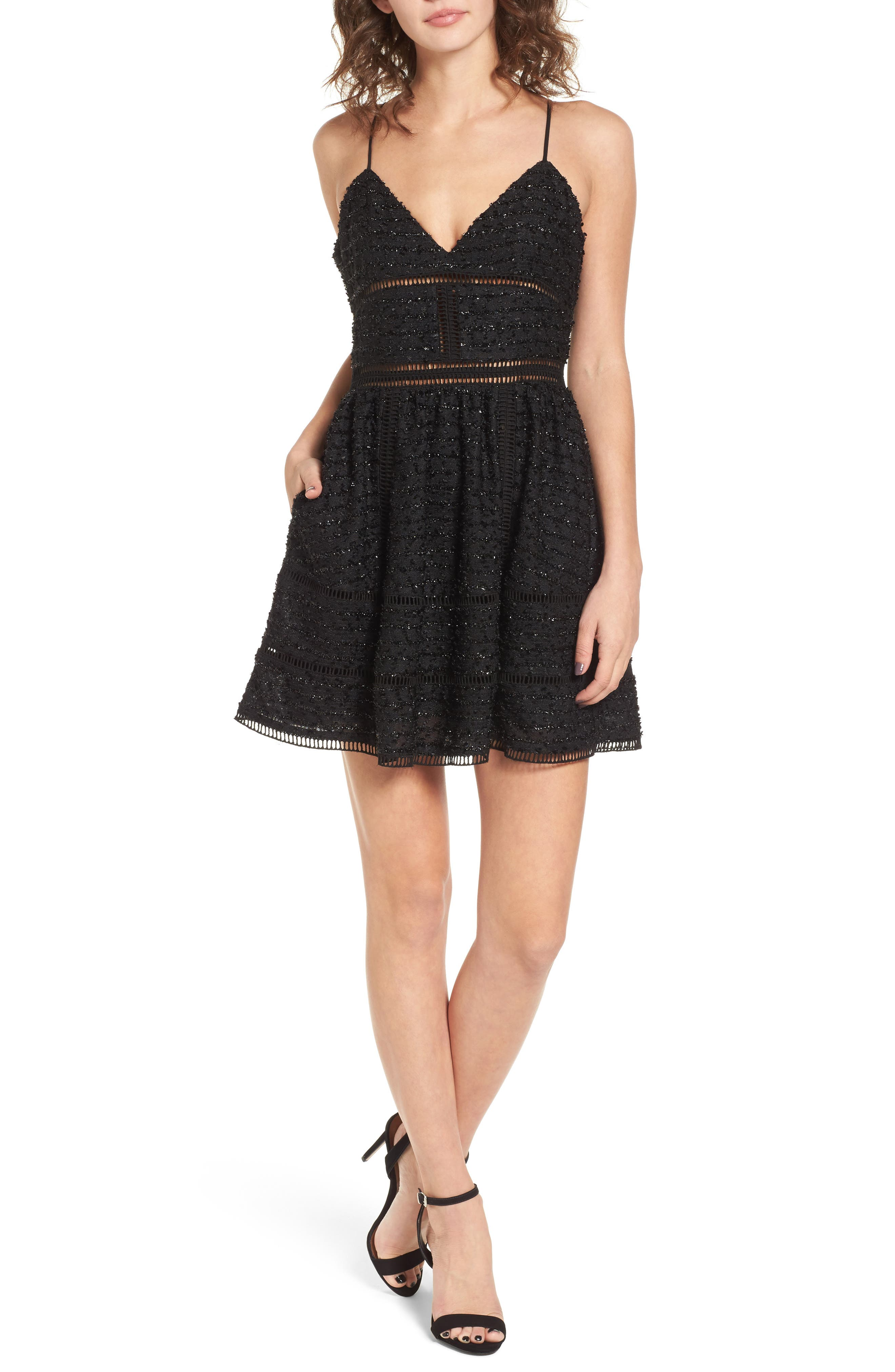 Miley Beaded Fit & Flare Dress,                             Main thumbnail 1, color,                             Black