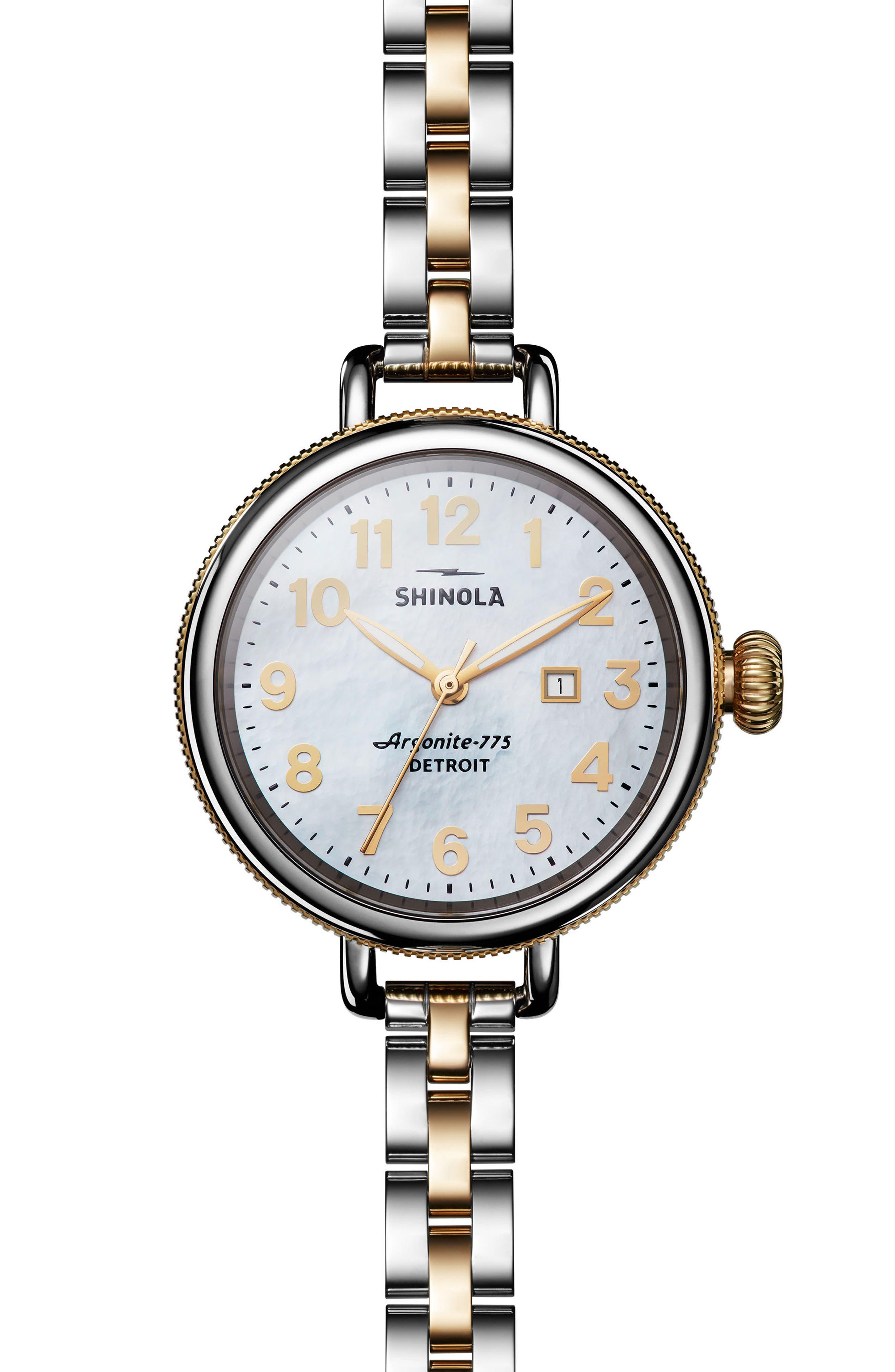 'The Birdy' Bracelet Watch, 34mm,                             Main thumbnail 1, color,                             Silver/ Bedrock Mop/ Gold