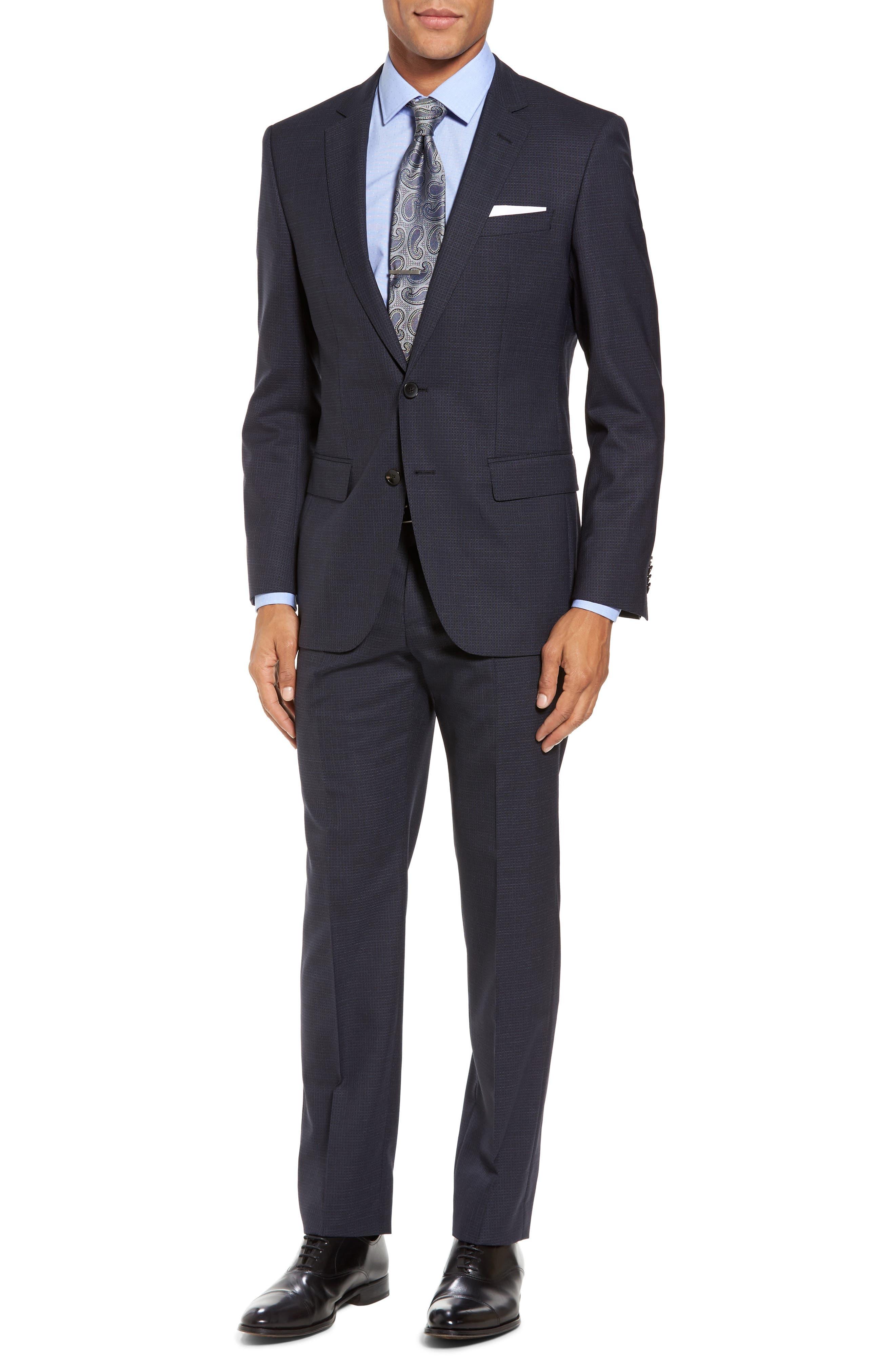 914bba4d HUGO BOSS Huge/Genius Trim Fit Check Wool Suit, Dark Blue   ModeSens