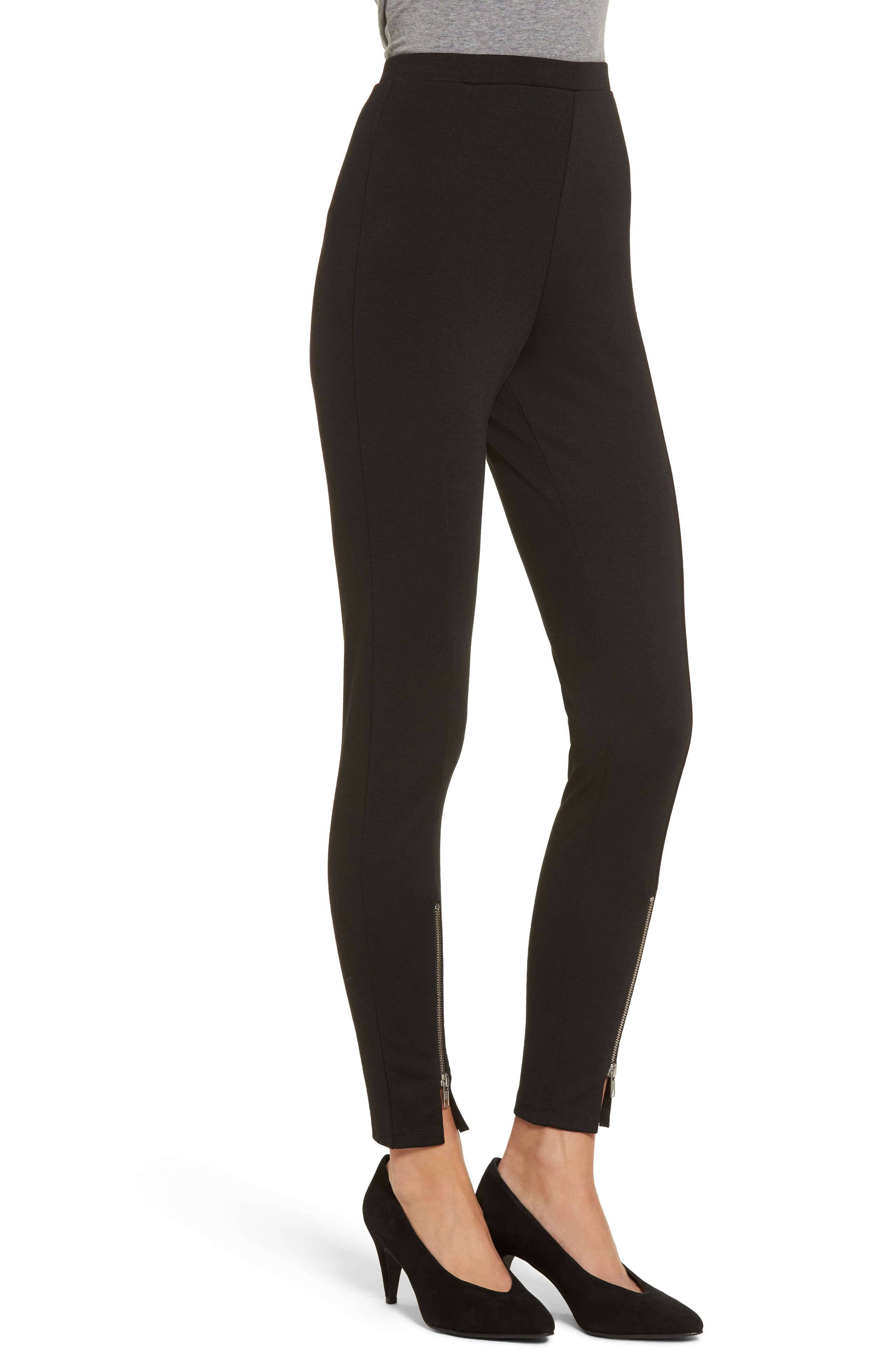 High-Waist Ankle Zip Leggings,                             Alternate thumbnail 3, color,                             Black