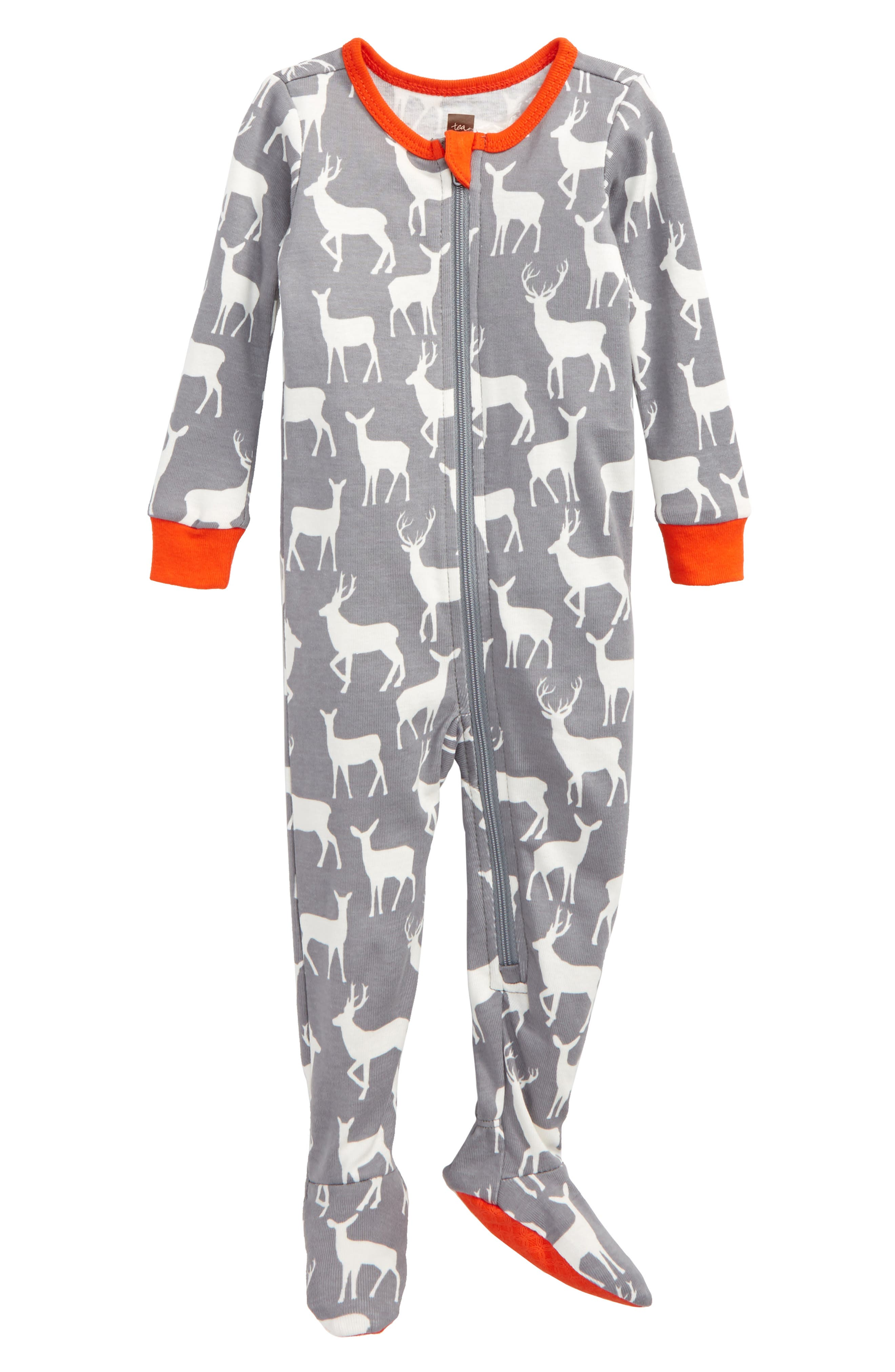 Tea Collection Red Deer Fitted One-Piece Pajamas (Baby)