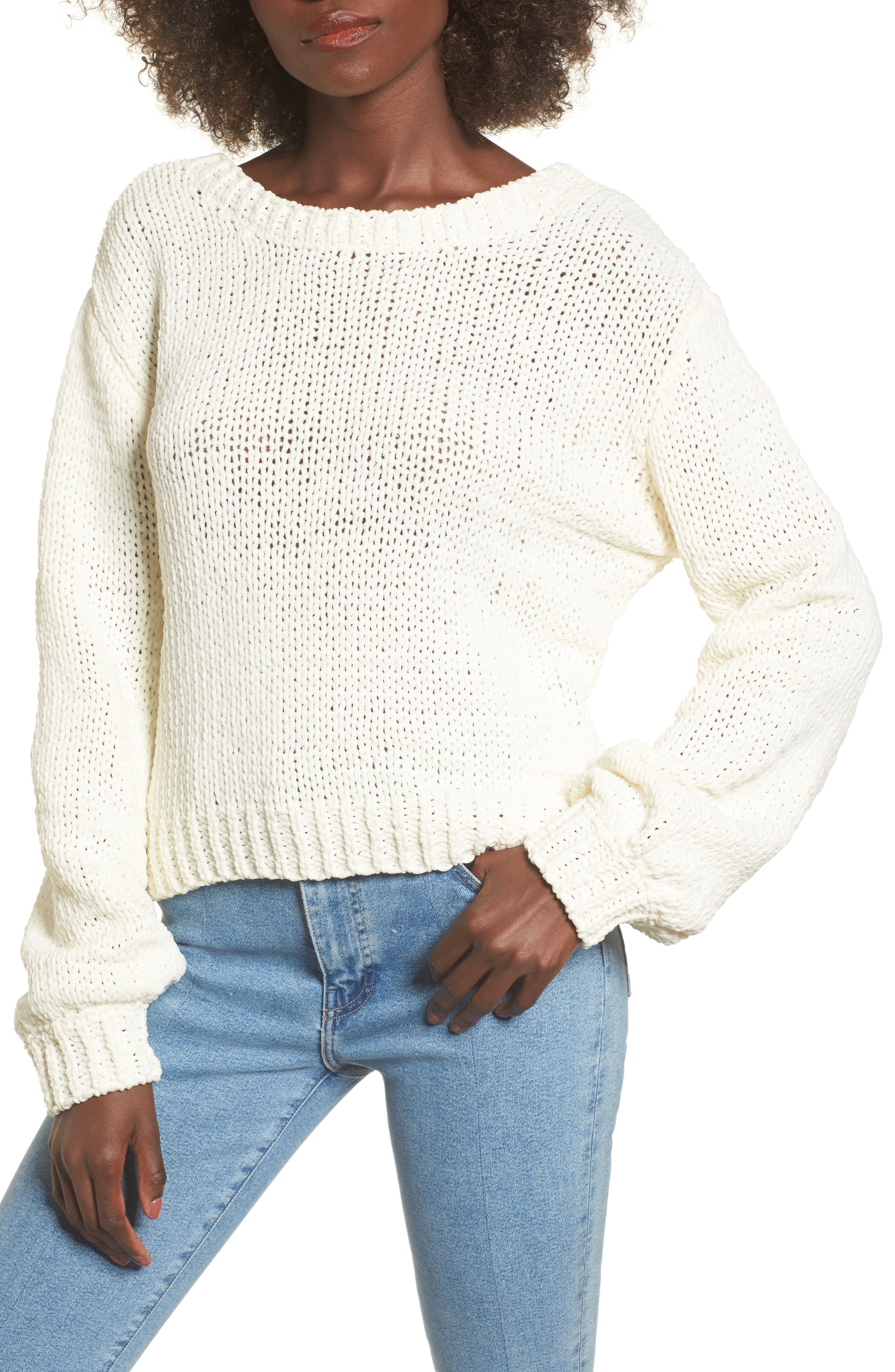 Strappy Sweater,                         Main,                         color, Ivory