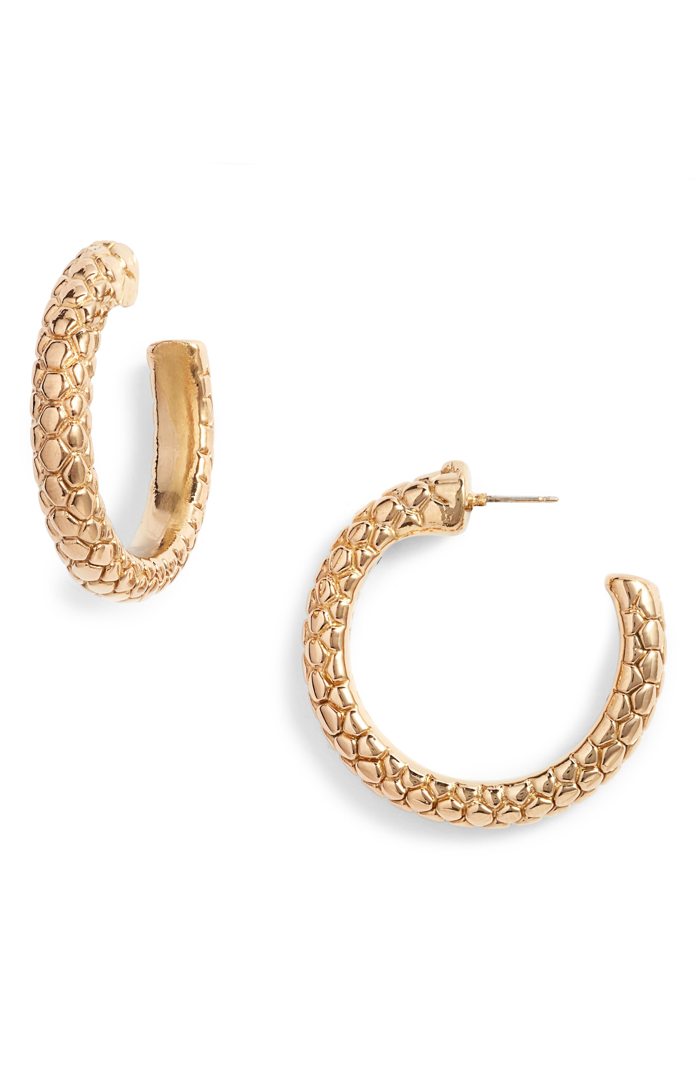 Simon Sebbag Pebble Texture Vermeil Hoop Earrings