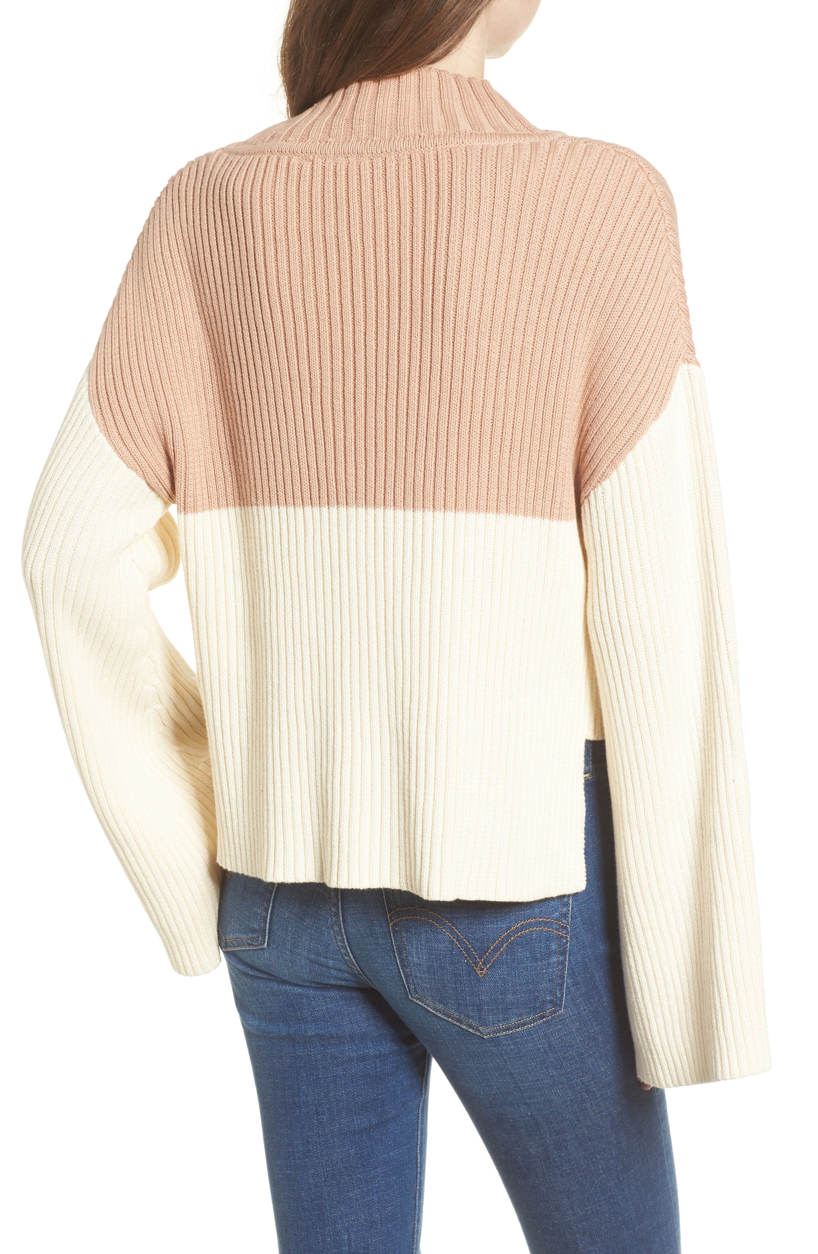Like a Melody Colorblock Crop Sweater,                             Alternate thumbnail 2, color,                             Cream/ Dusty Pink