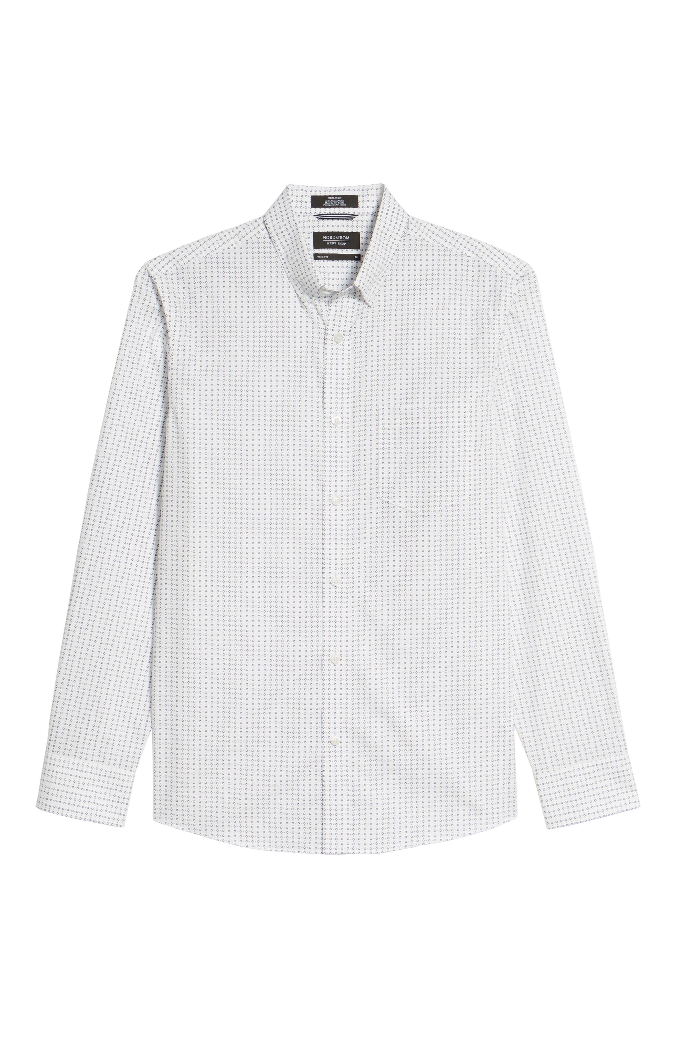 Trim Fit Non-Iron Circle Print Sport Shirt,                             Alternate thumbnail 6, color,                             Ivory Egret Circle Print