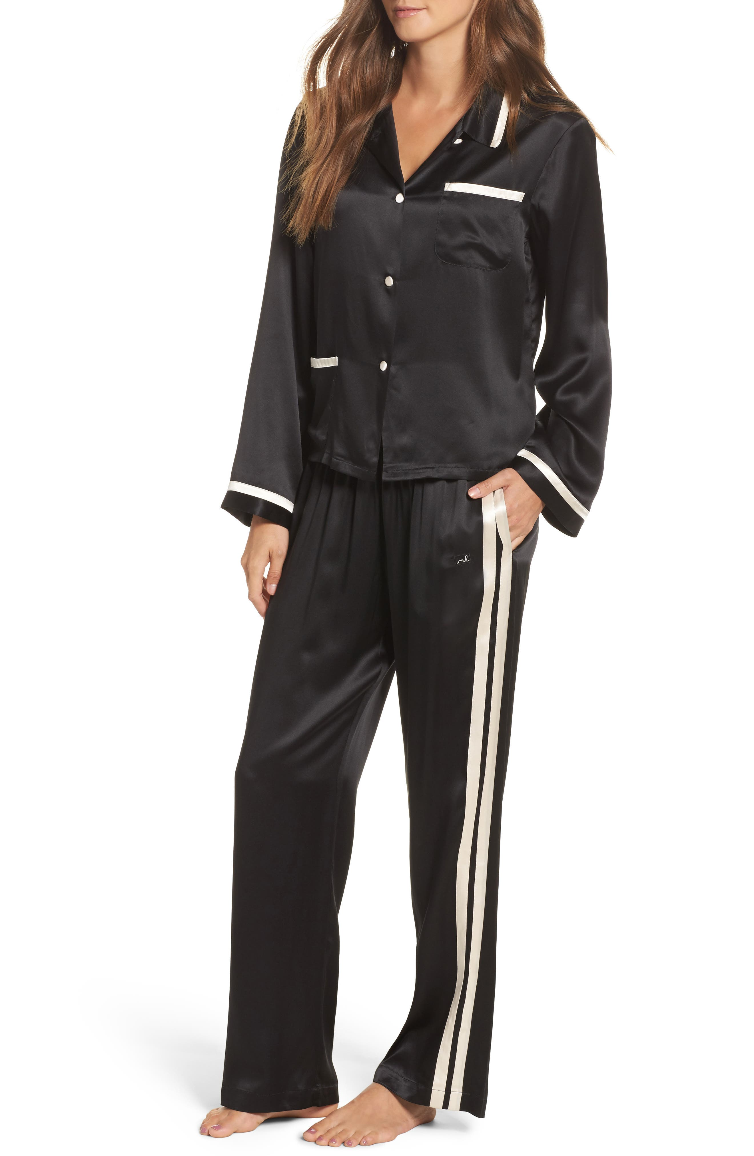 Ruthie Silk Charmeuse Pajama Top,                             Alternate thumbnail 5, color,                             Noir/ Vanilla