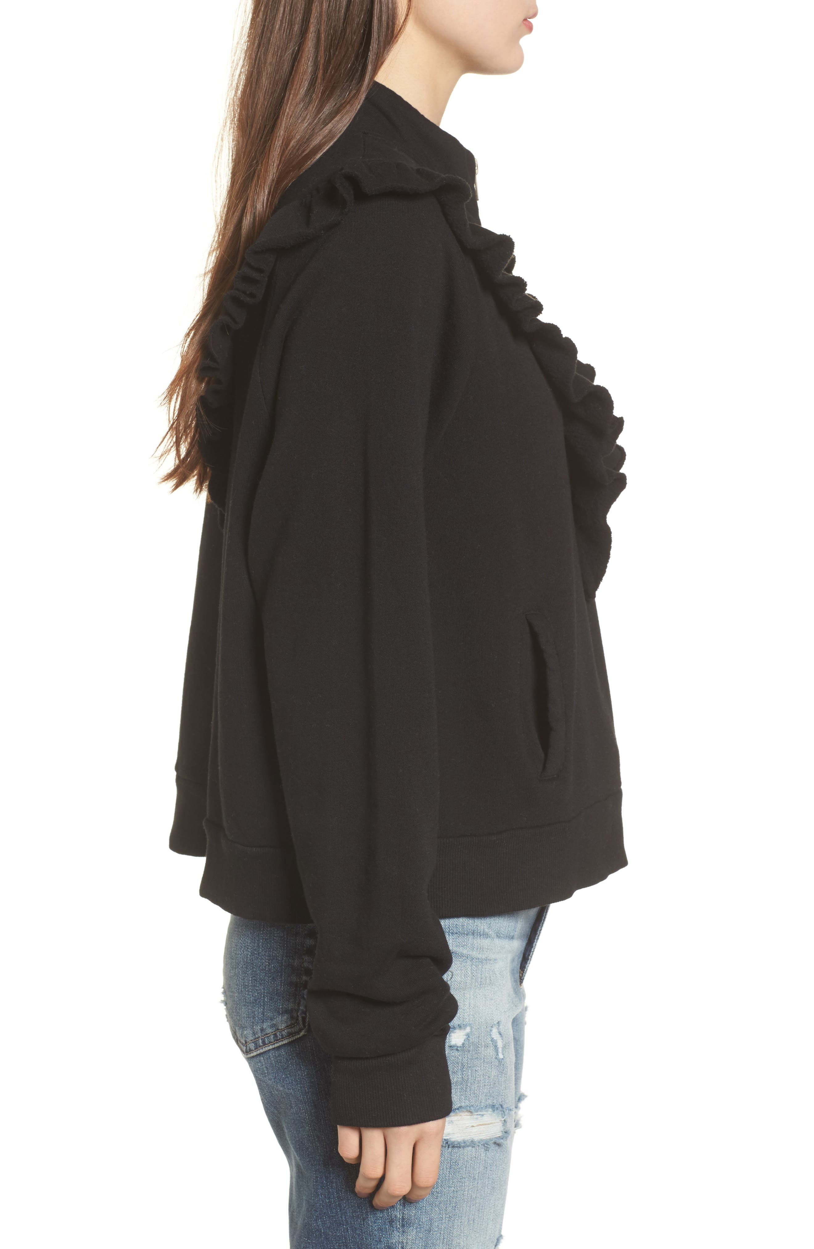 Prima Ruffle Warm-Up Pullover,                             Alternate thumbnail 3, color,                             Black