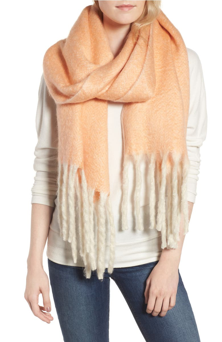 Kensington Brushed Herringbone Fringe Scarf,                         Main,                         color, Pink