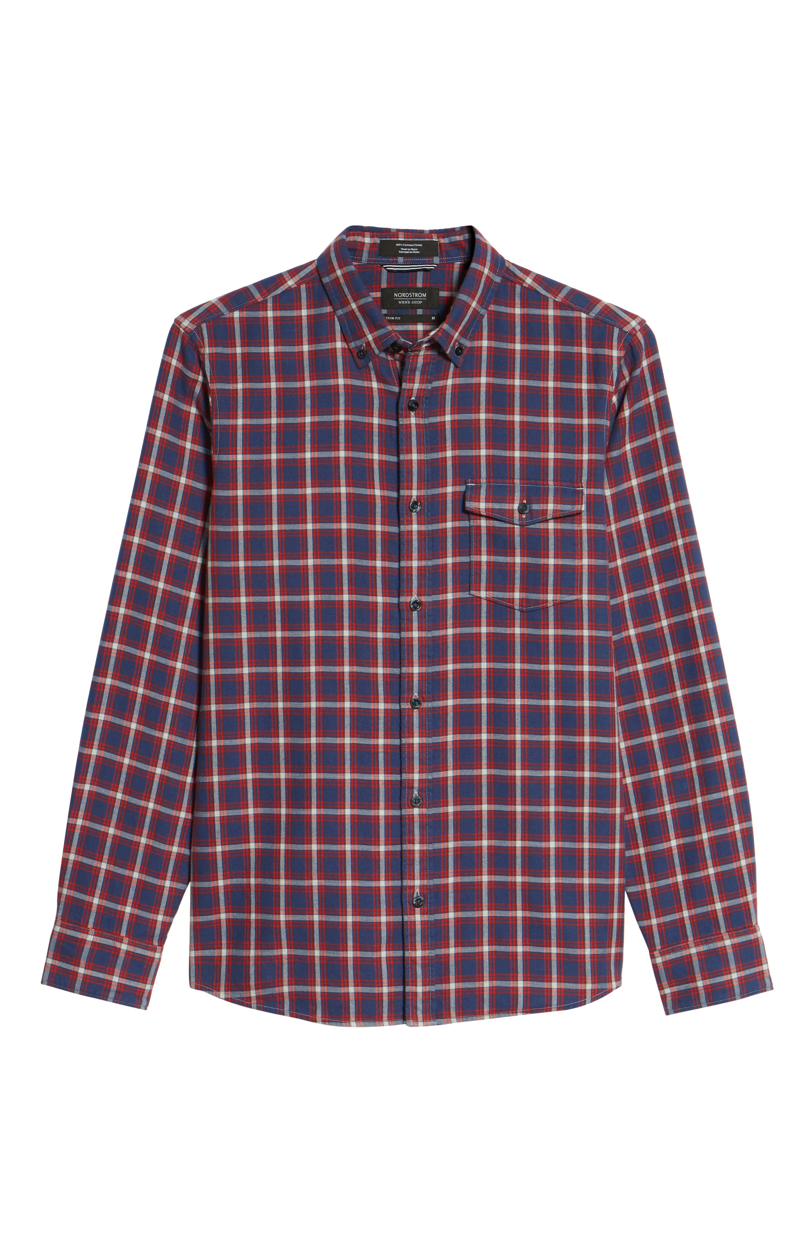 Trim Fit Duofold Check Sport Shirt,                             Alternate thumbnail 6, color,                             Navy Iris Red Plaid Duofold