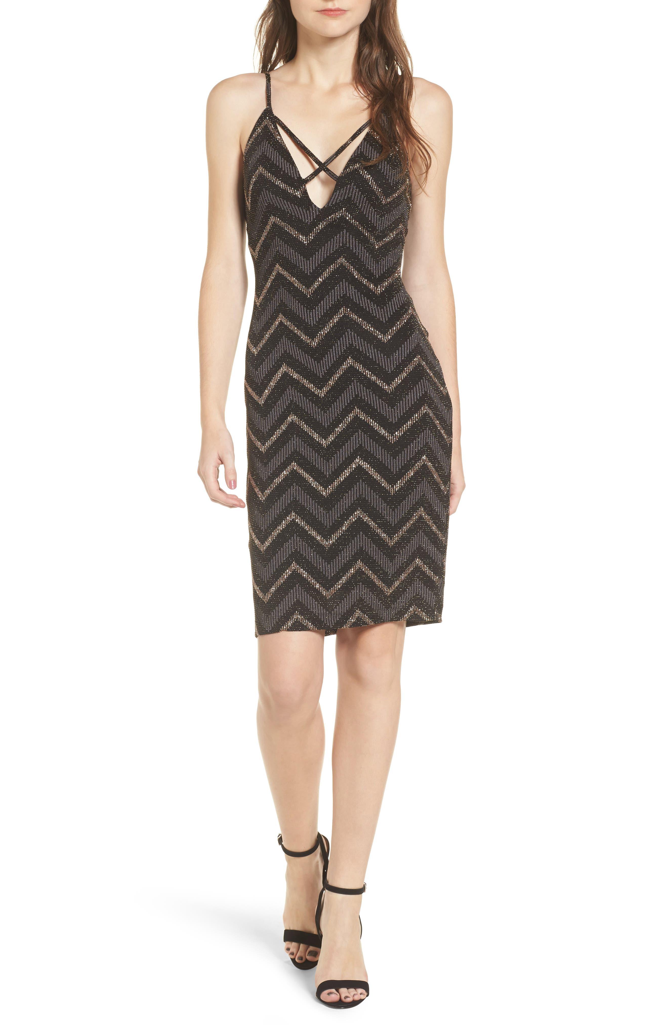 Love Nickie Lew Metallic Chevron Stripe Midi Dress,                             Main thumbnail 1, color,                             Black/ Copper