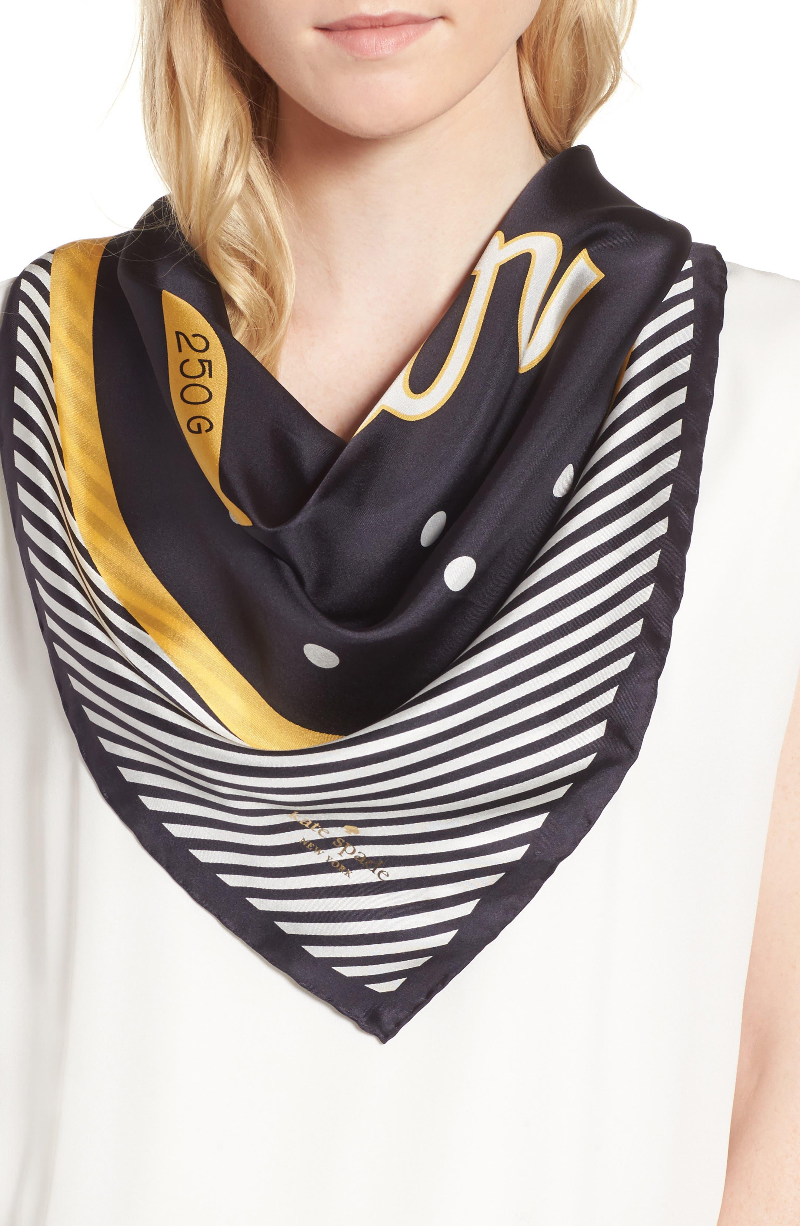 kate spade new york caviar silk square scarf