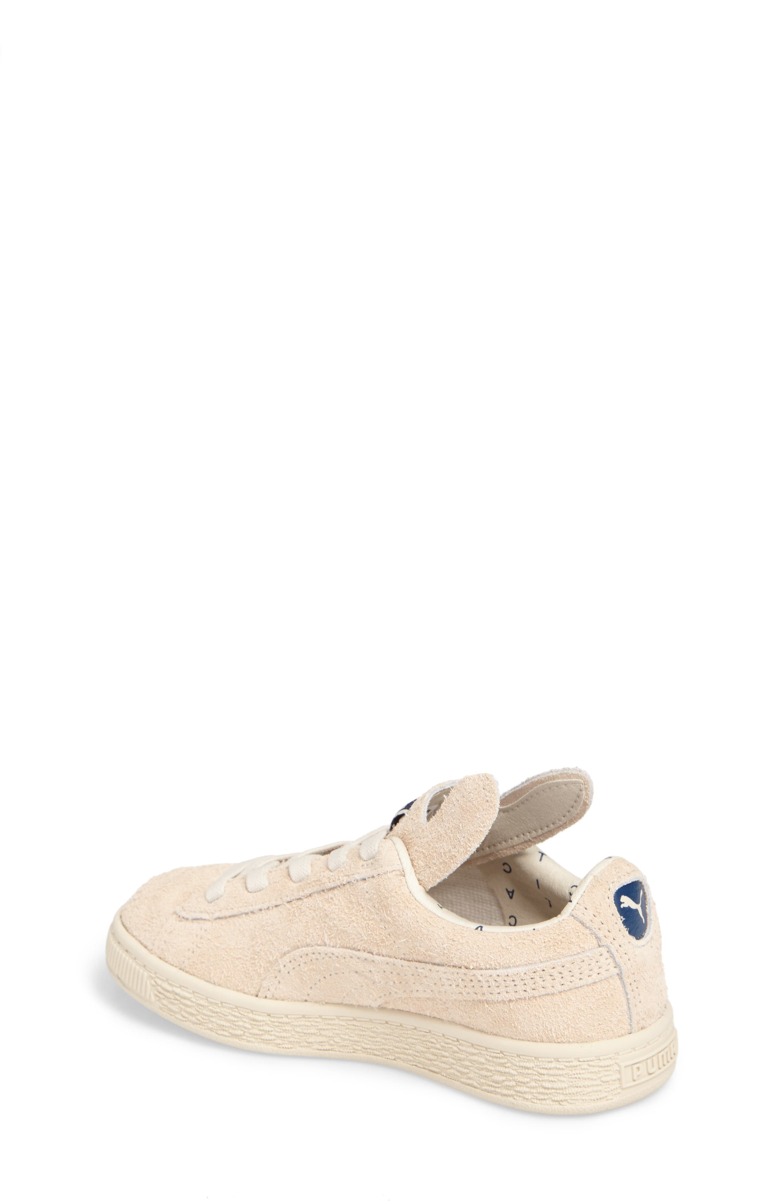 x tinycottons Basket Furry Sneaker,                             Alternate thumbnail 2, color,                             Birch/ Dress Blues