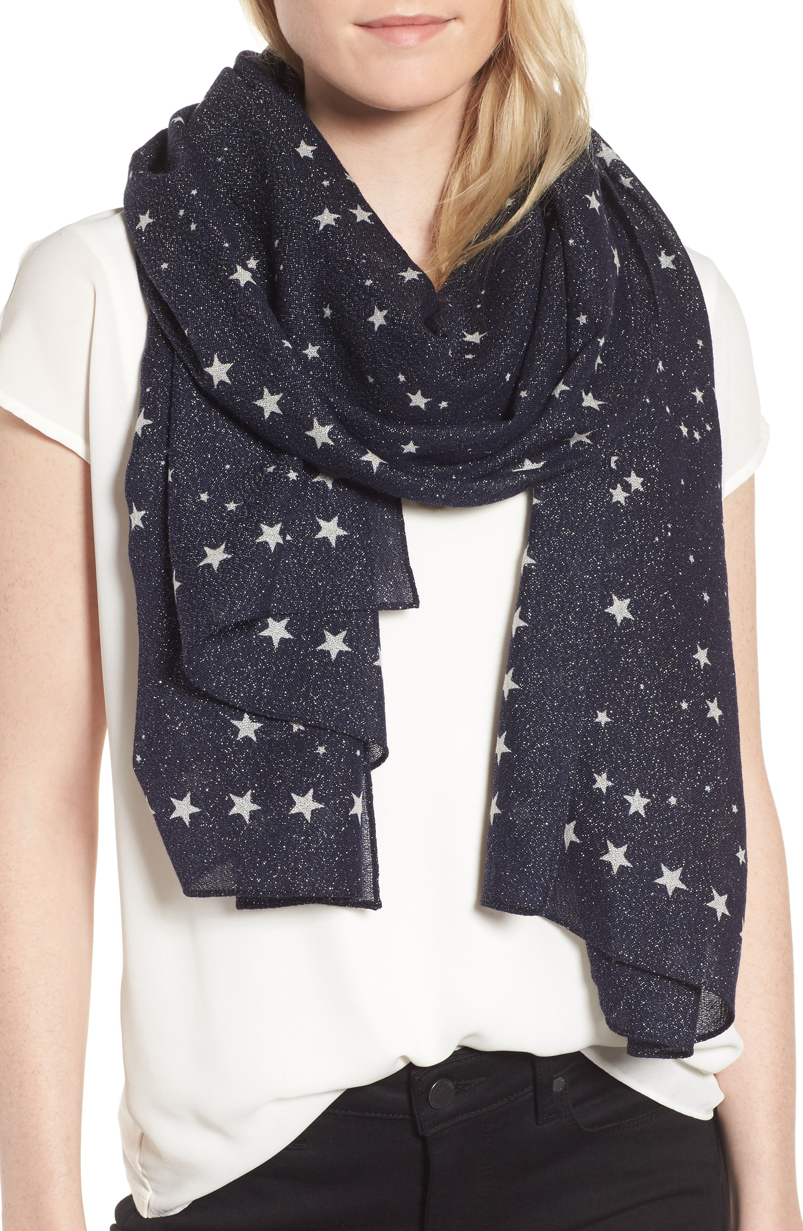 night sky wool blend scarf,                         Main,                         color, Rich Navy