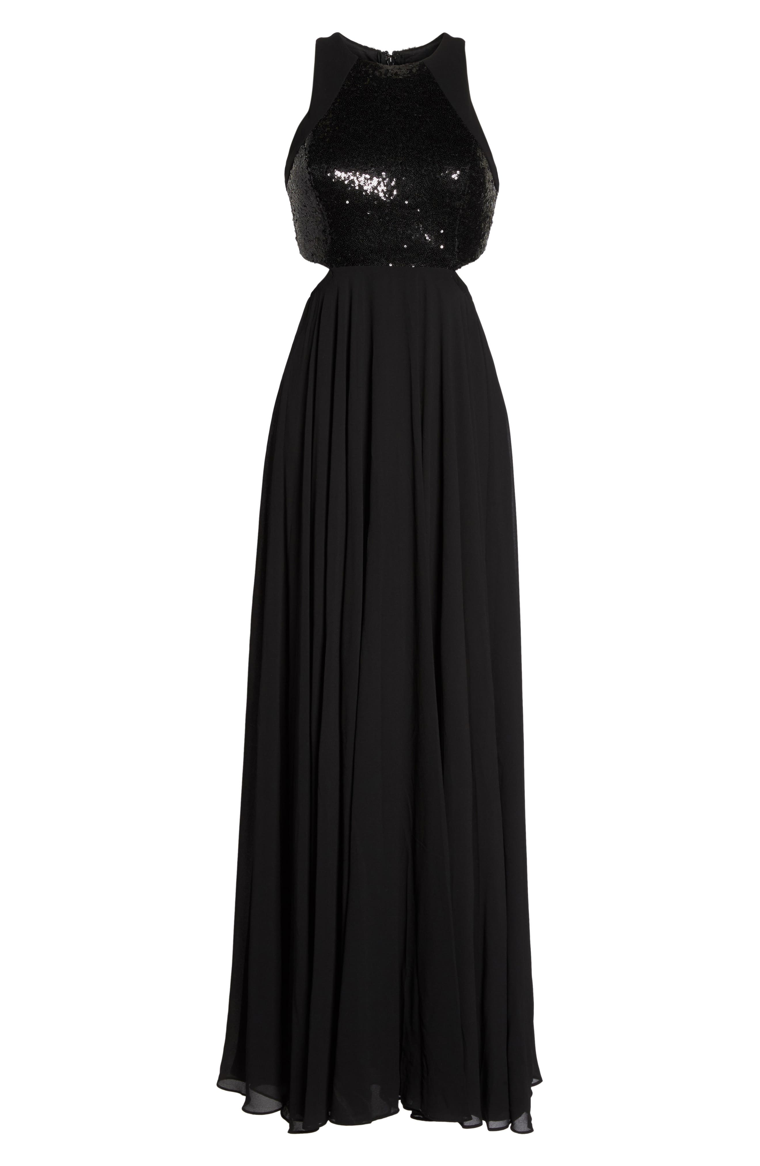 Nothing but Love Sequin Bodice Maxi Dress,                             Alternate thumbnail 6, color,                             Black