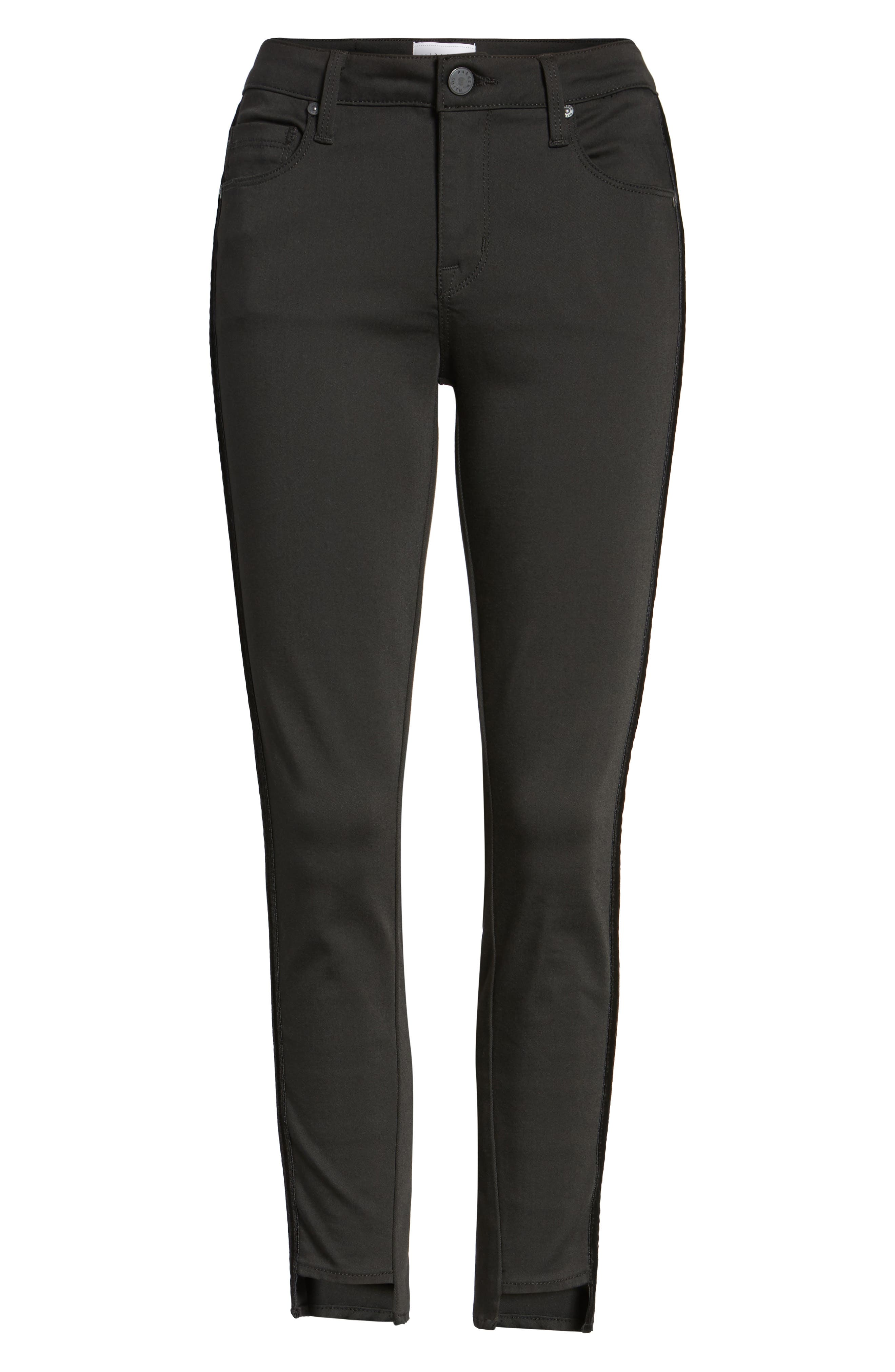 Twisted Tuxedo Crop Skinny Jeans,                             Alternate thumbnail 6, color,                             Eternal Black
