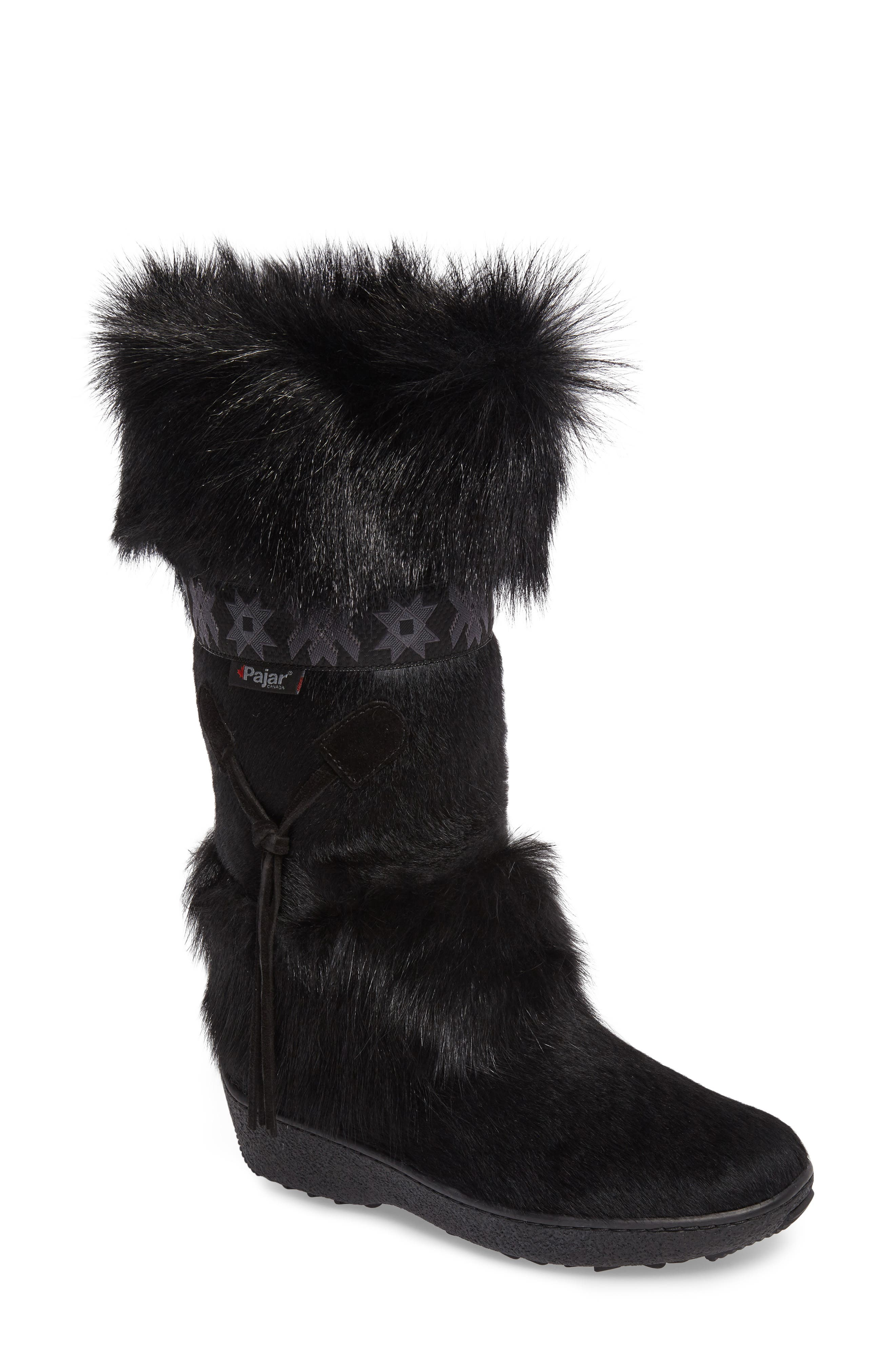 Laura Genuine Goat Fur Waterproof Boot,                             Main thumbnail 1, color,                             Black Fur