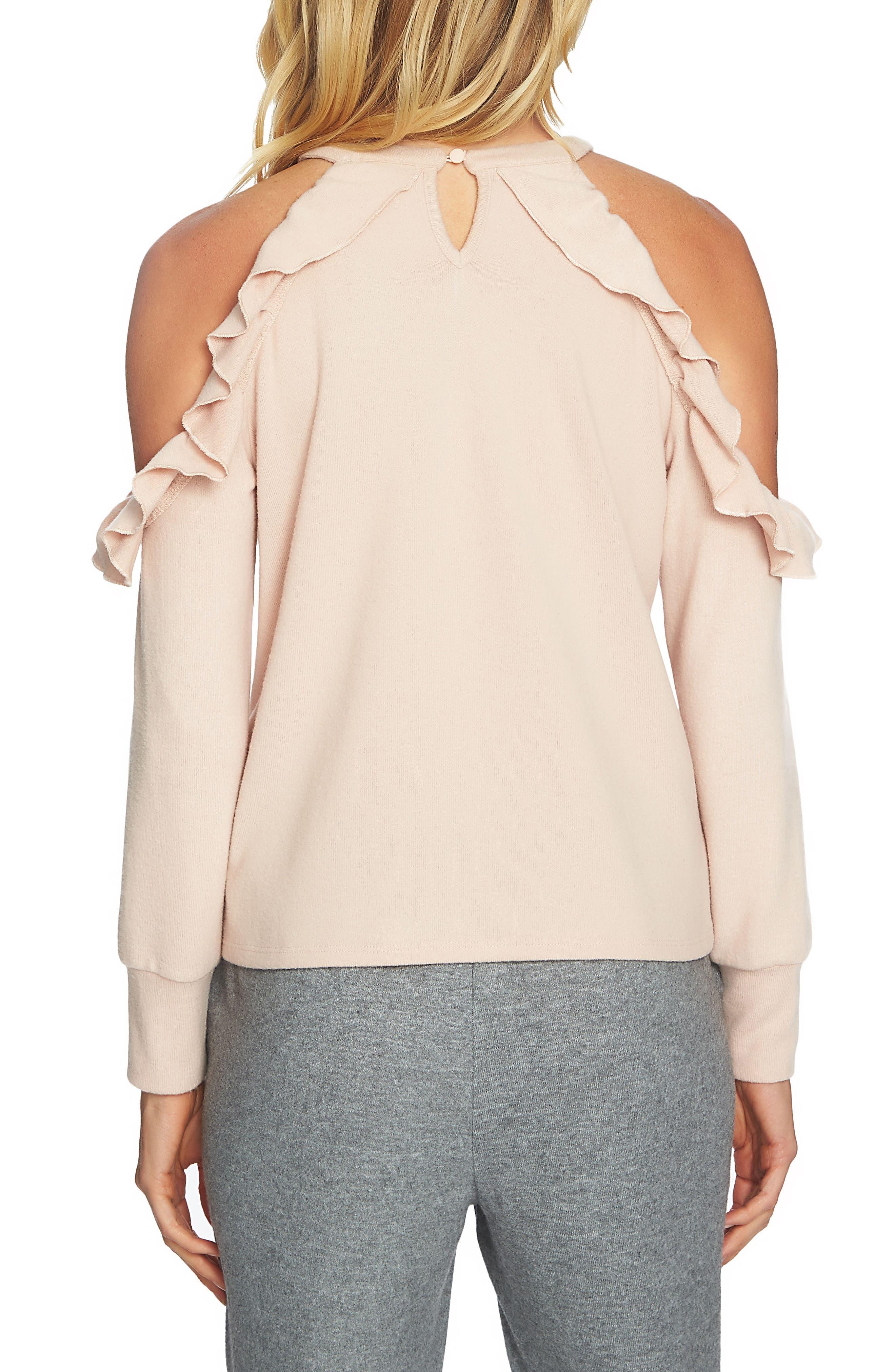 The Cozy Cold Shoulder Knit Top,                             Alternate thumbnail 2, color,                             897-Blush Frost
