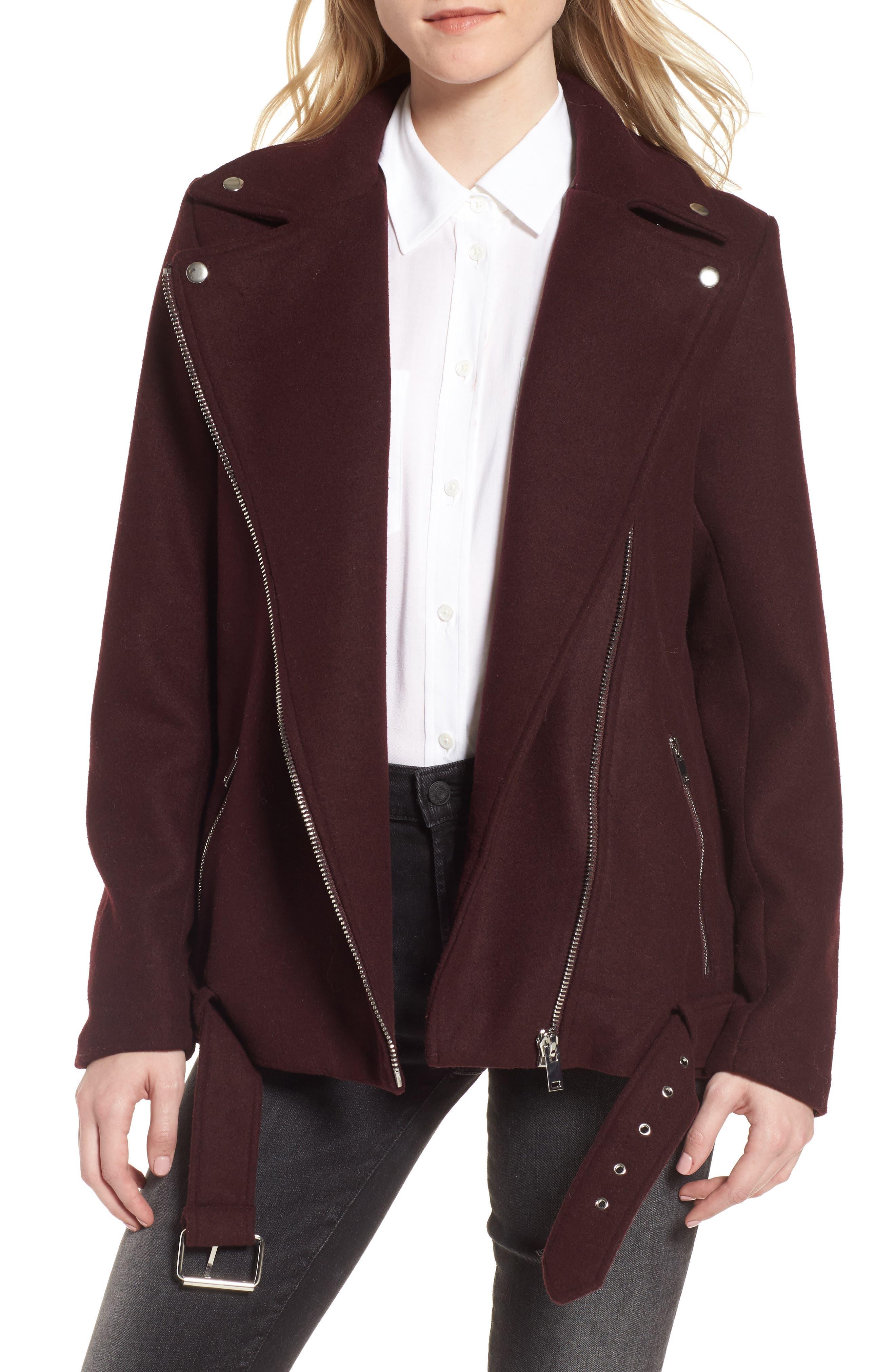 Main Image - LOST INK Asymmetrical Felt Biker Jacket