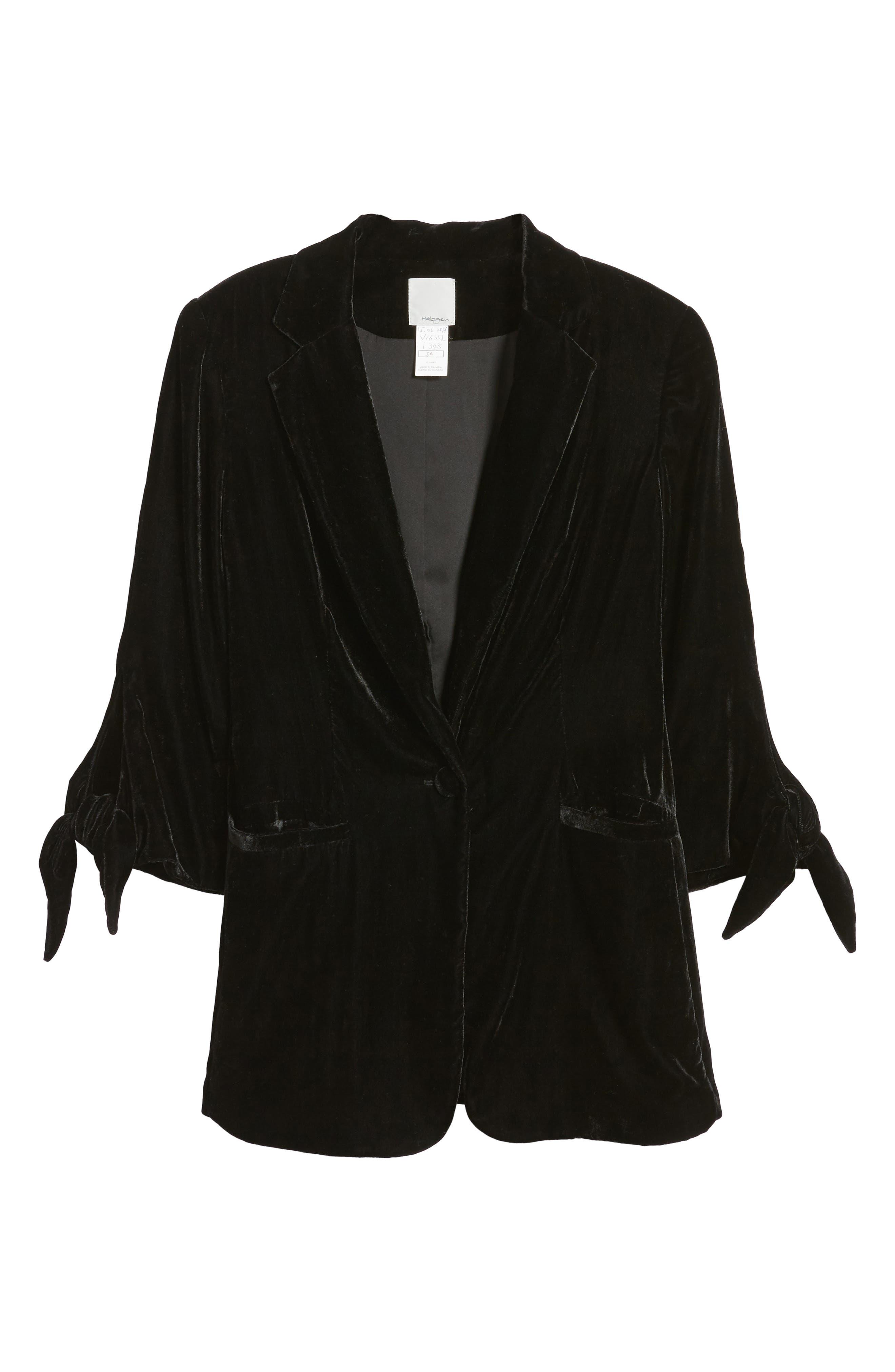 Tie Sleeve Velvet Blazer,                             Alternate thumbnail 7, color,                             Black
