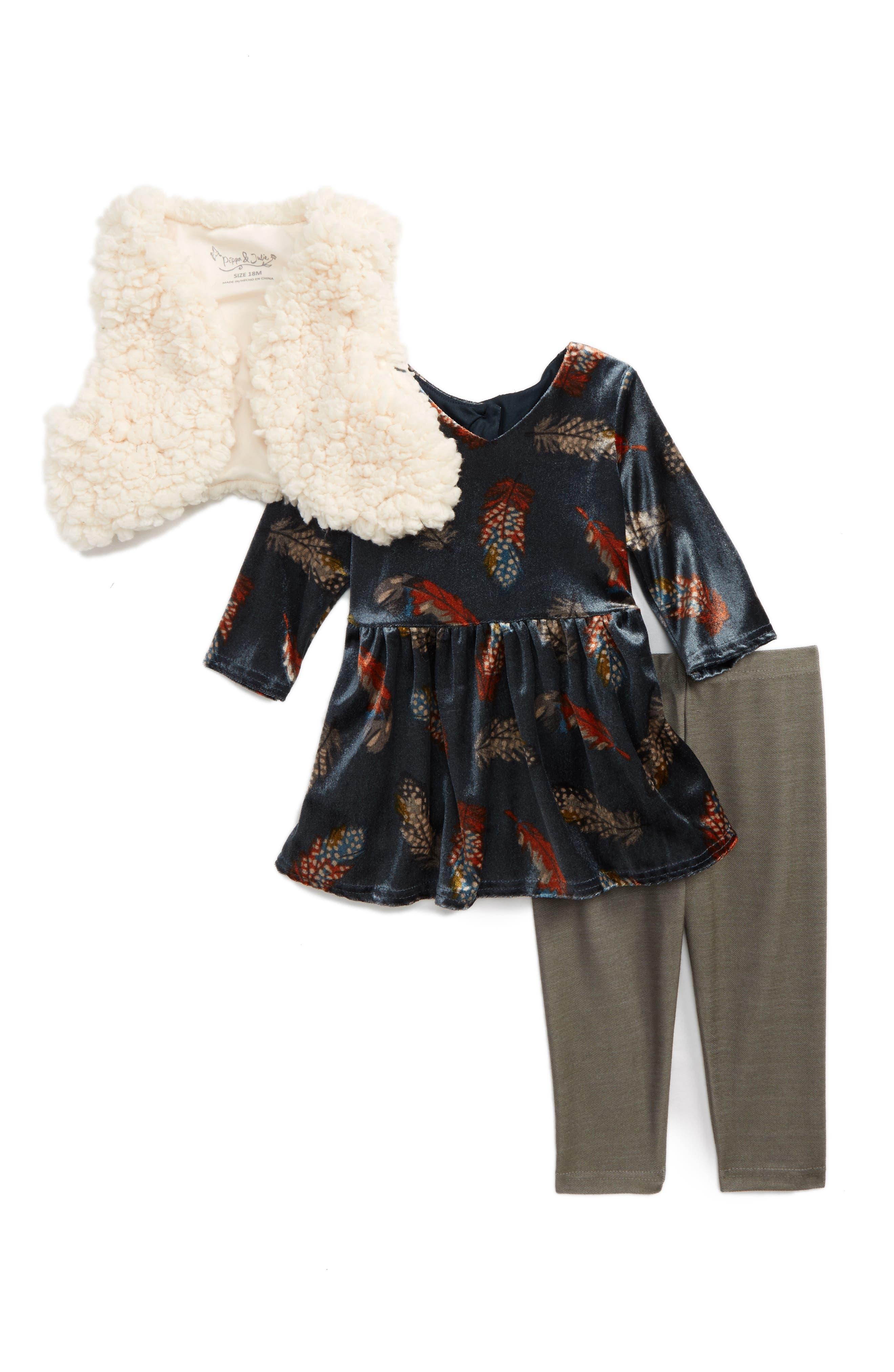 Pippa & Julie Faux Fur Vest, Dress & Leggings Set (Baby Girls)