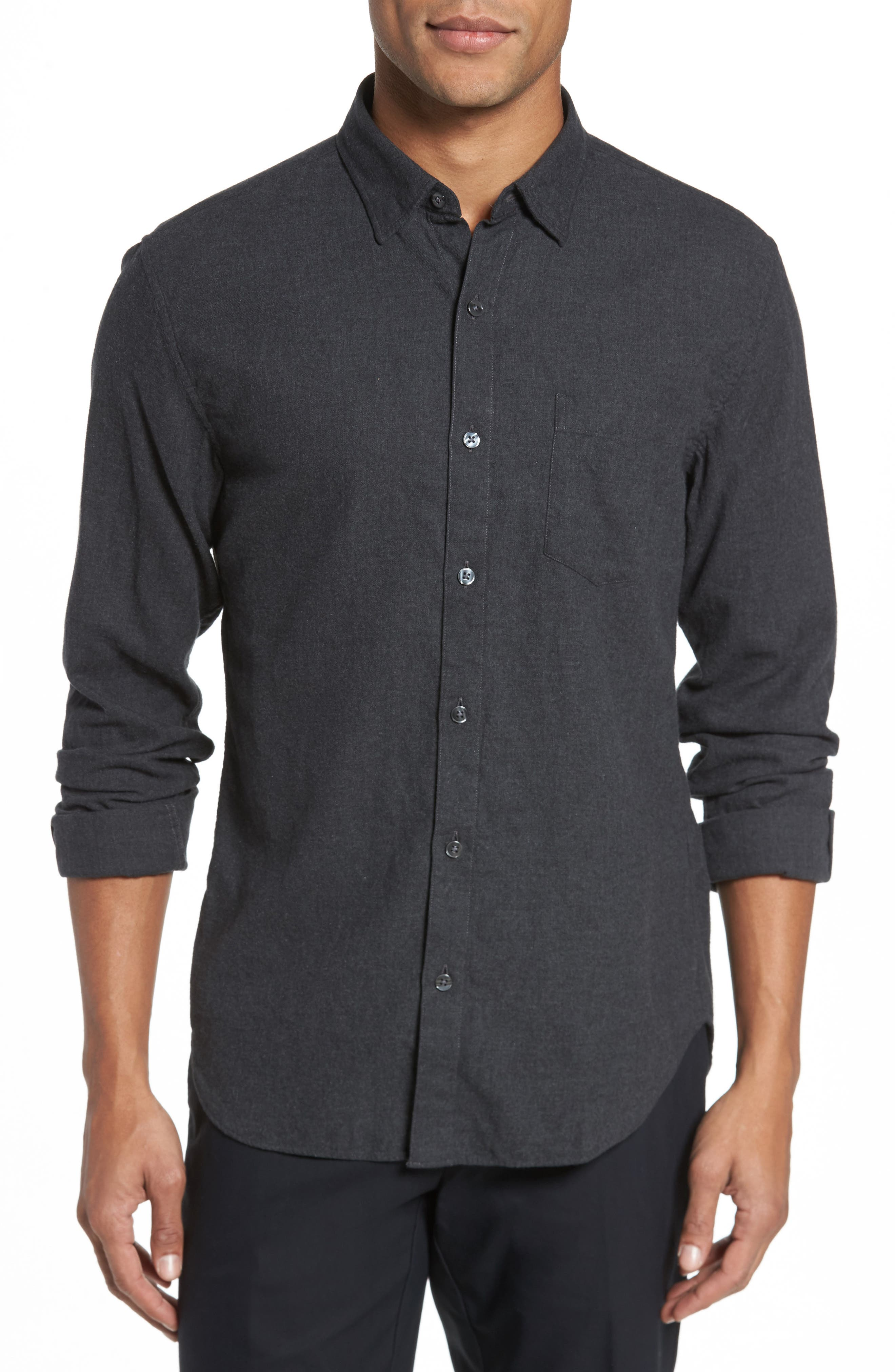 Slim Fit Brushed Twill Sport Shirt,                             Main thumbnail 1, color,                             Heather Charcoal