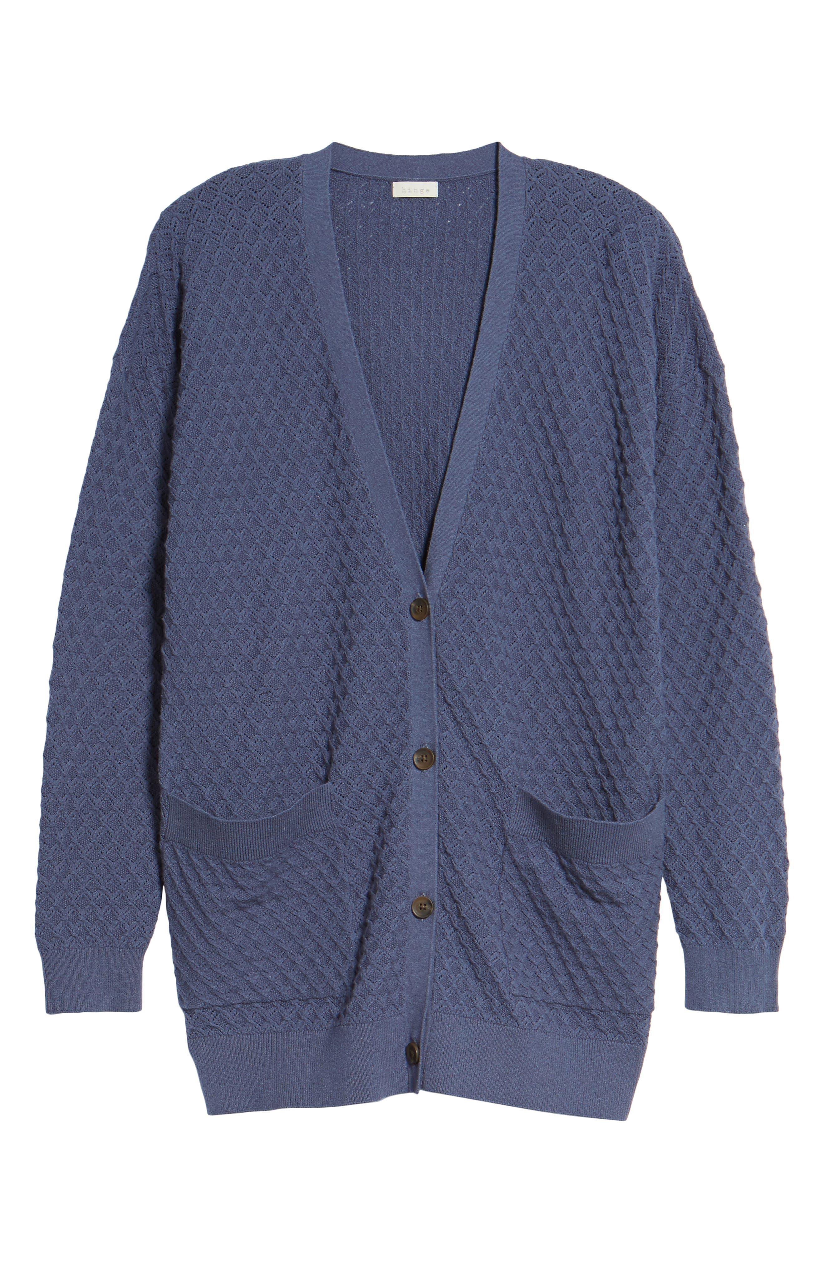 Pointelle Cardigan Sweater,                             Alternate thumbnail 5, color,                             Blue Vintage