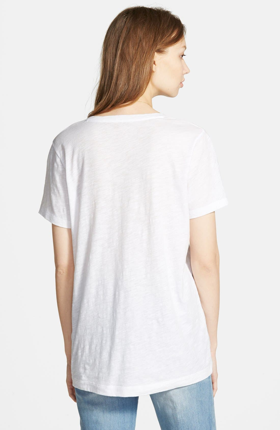 Whisper Cotton V-Neck Pocket Tee,                             Alternate thumbnail 3, color,                             Optic White
