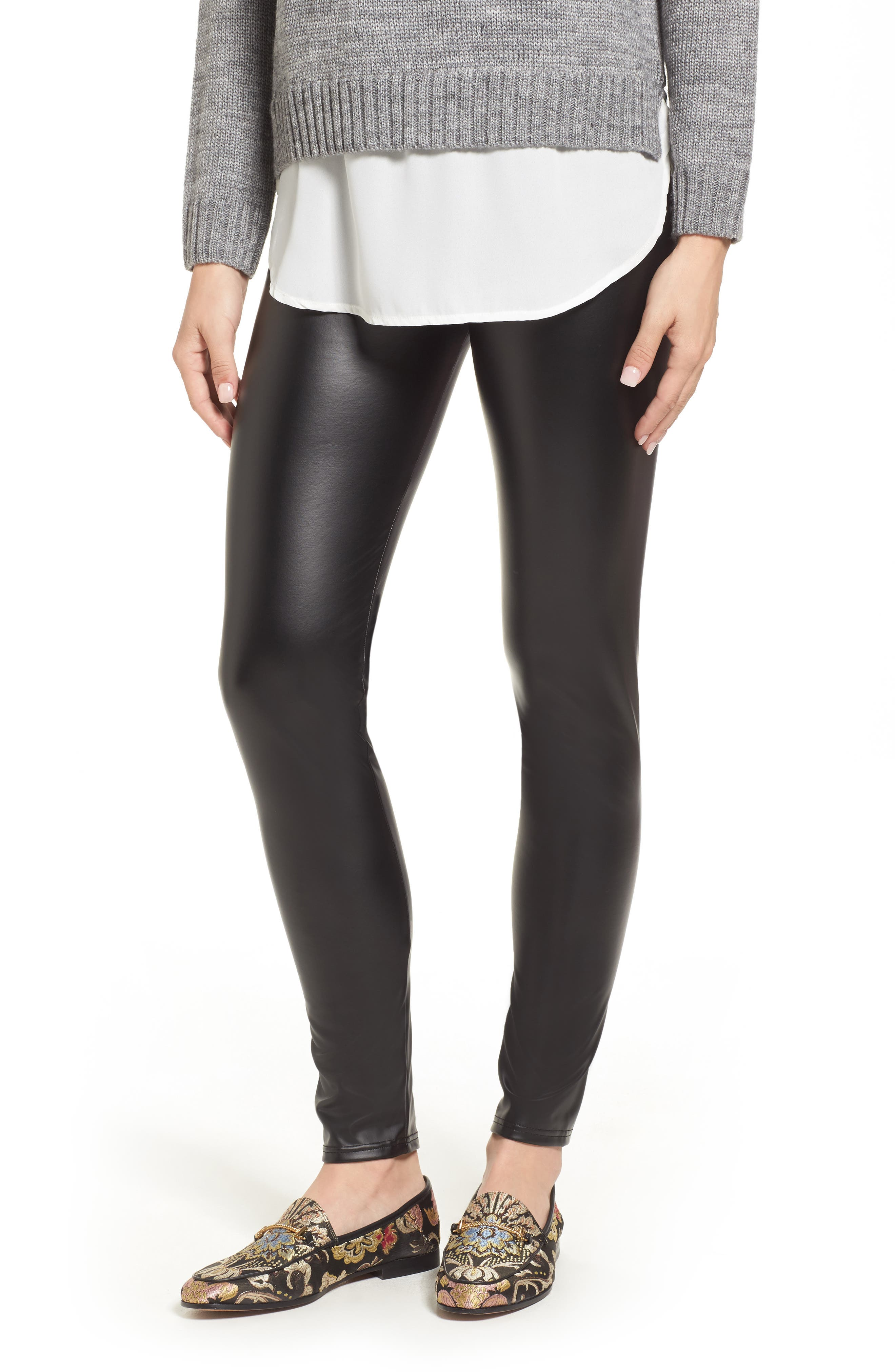 Alternate Image 1 Selected - Oroblu Plush Lined Faux Leather Leggings