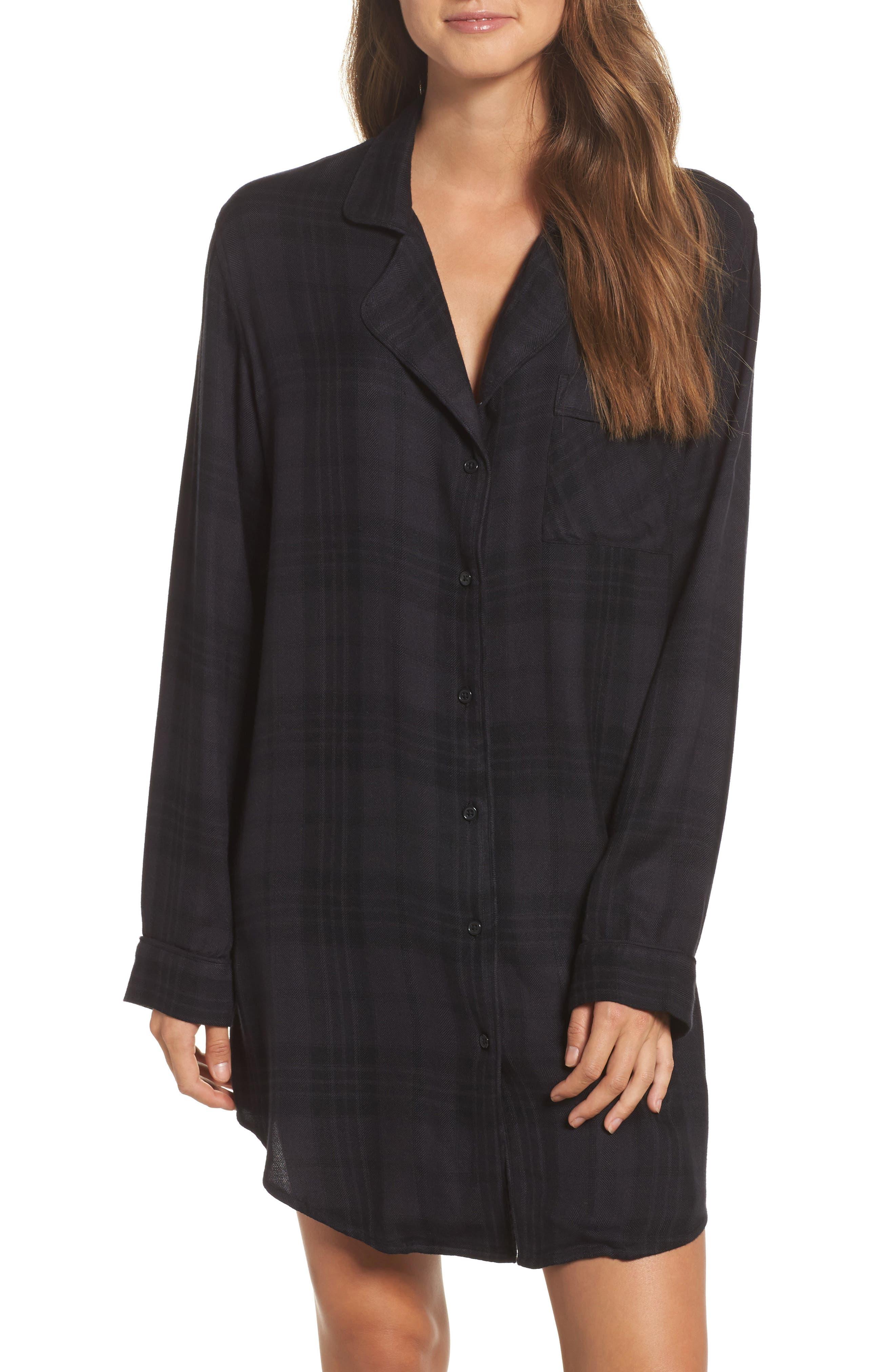 Plaid Sleep Shirt,                         Main,                         color, Onyx/ Jet