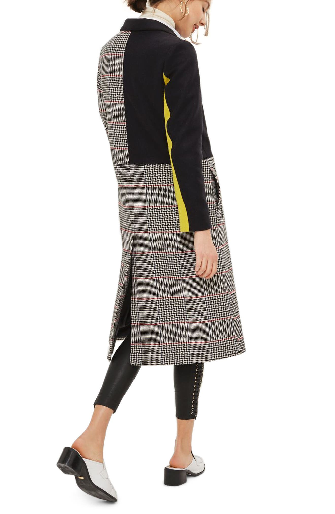 Colorblock Check Wool Blend Coat,                             Alternate thumbnail 2, color,                             Navy Blue Multi